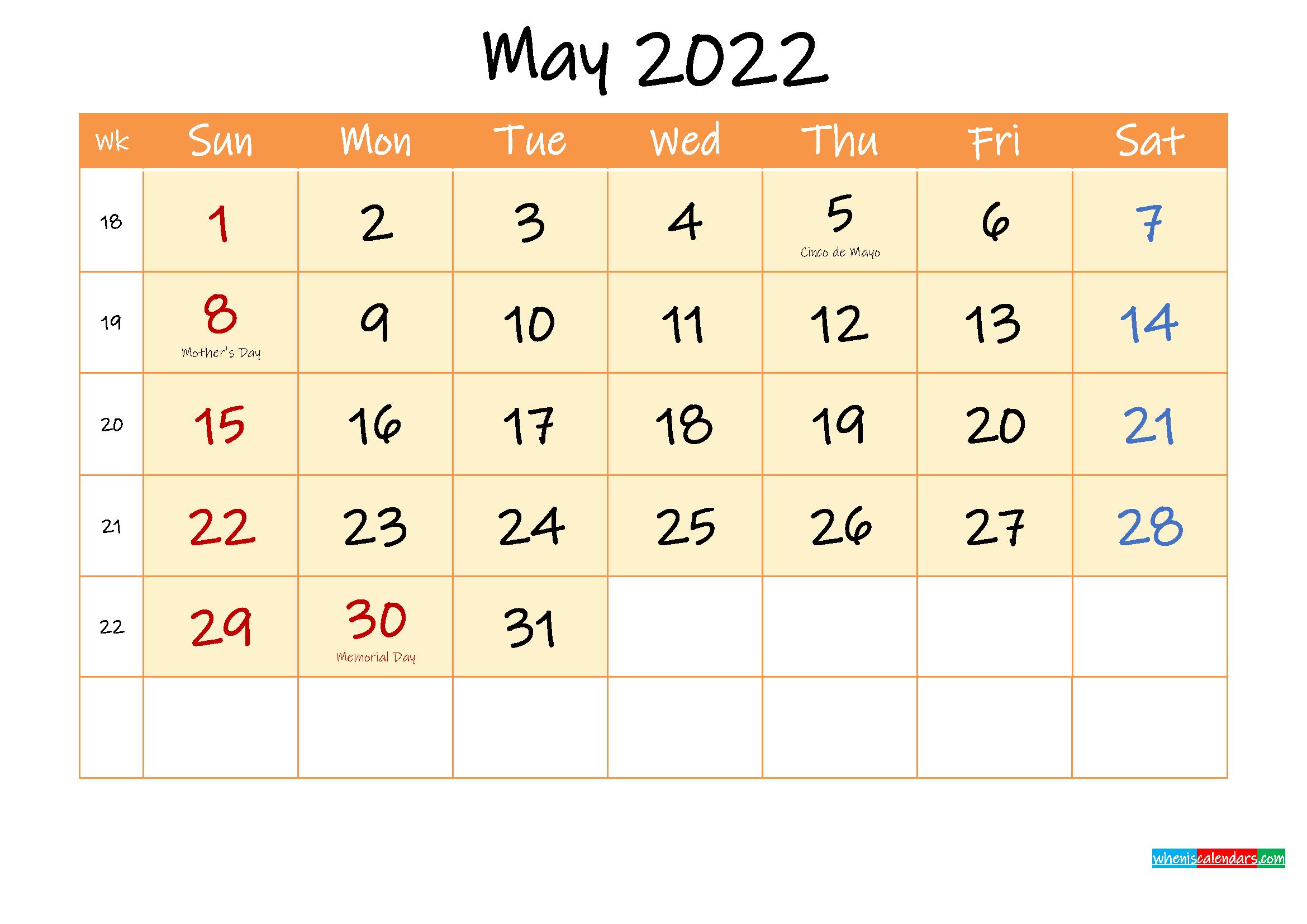 May 2022 Free Printable Calendar