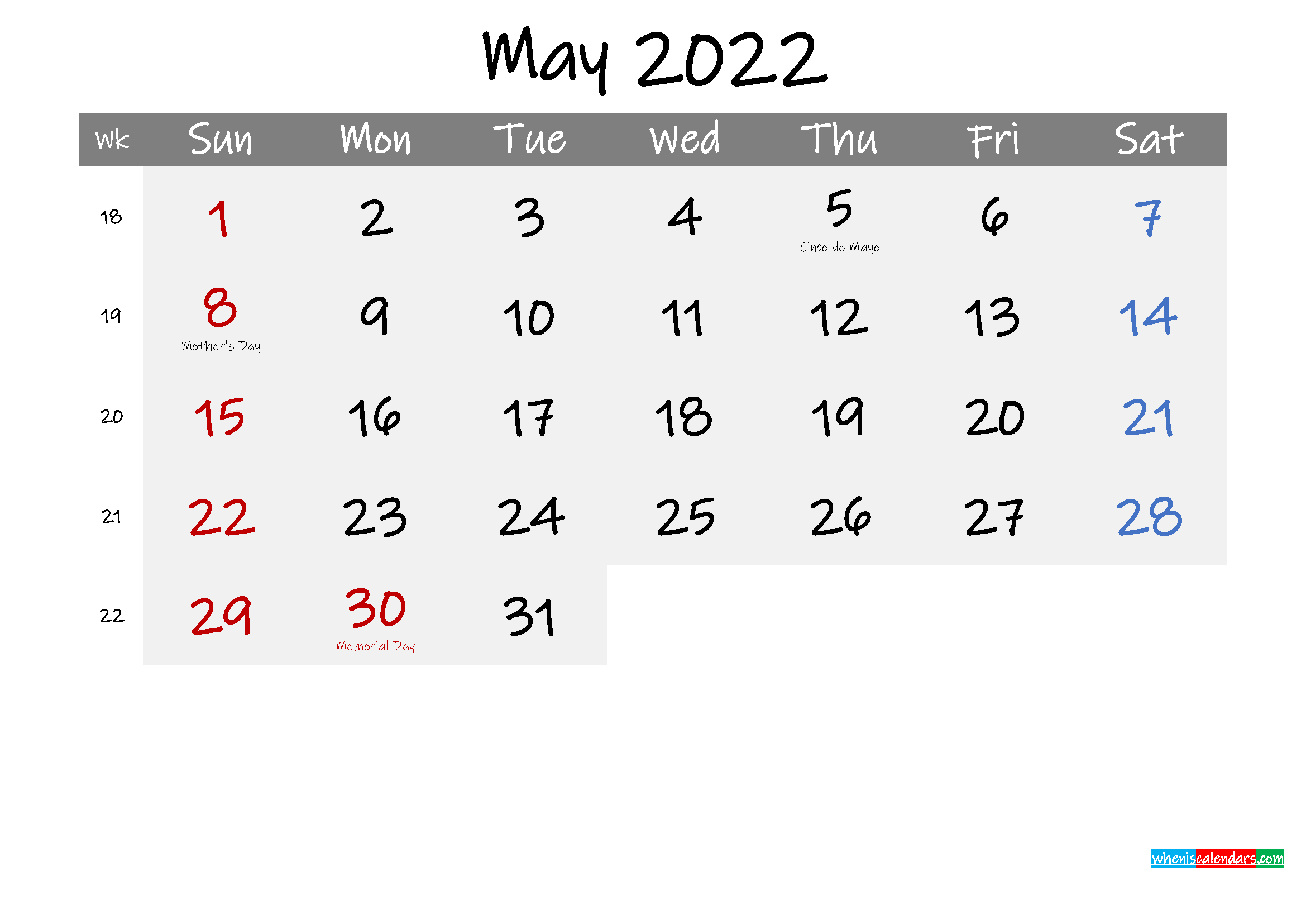 Free May 2022 Monthly Calendar Template Word