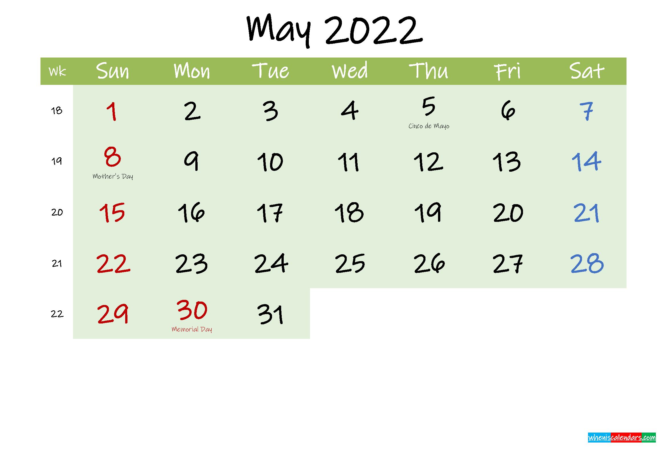 May 2022 Calendar with Holidays Printable