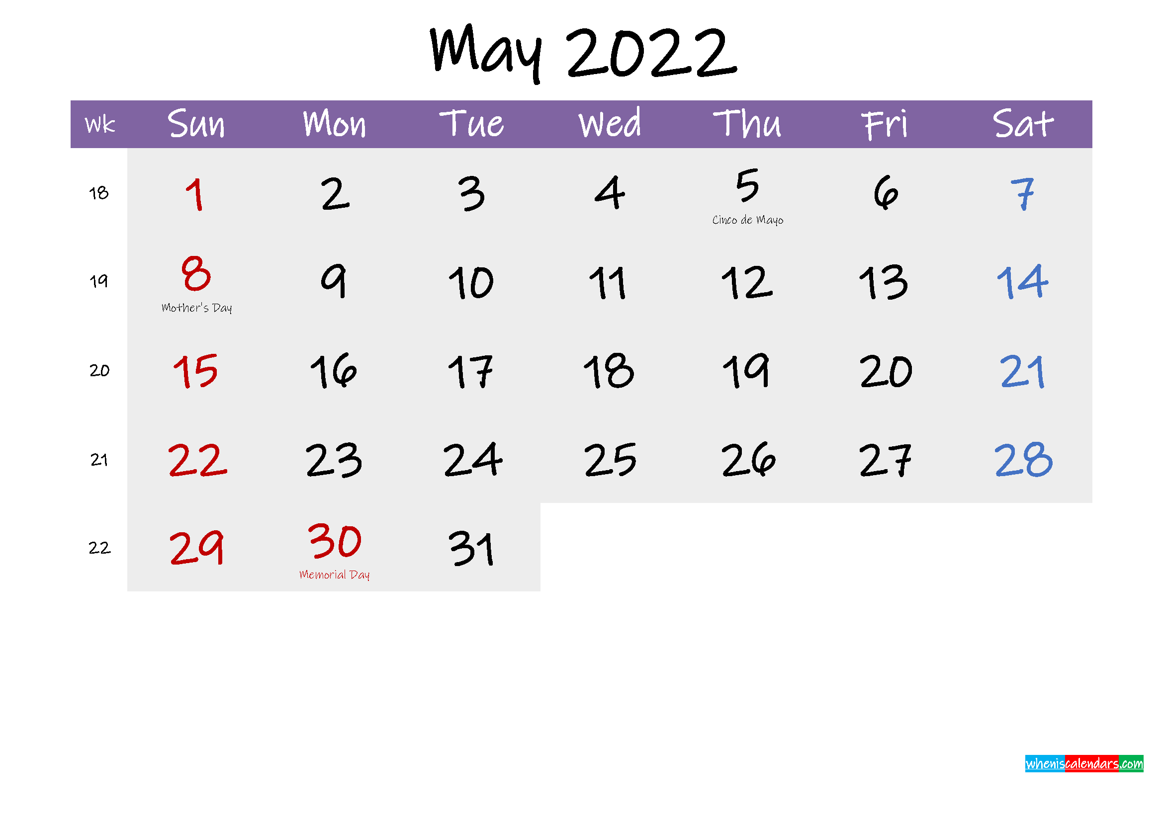 Editable May 2022 Calendar Word