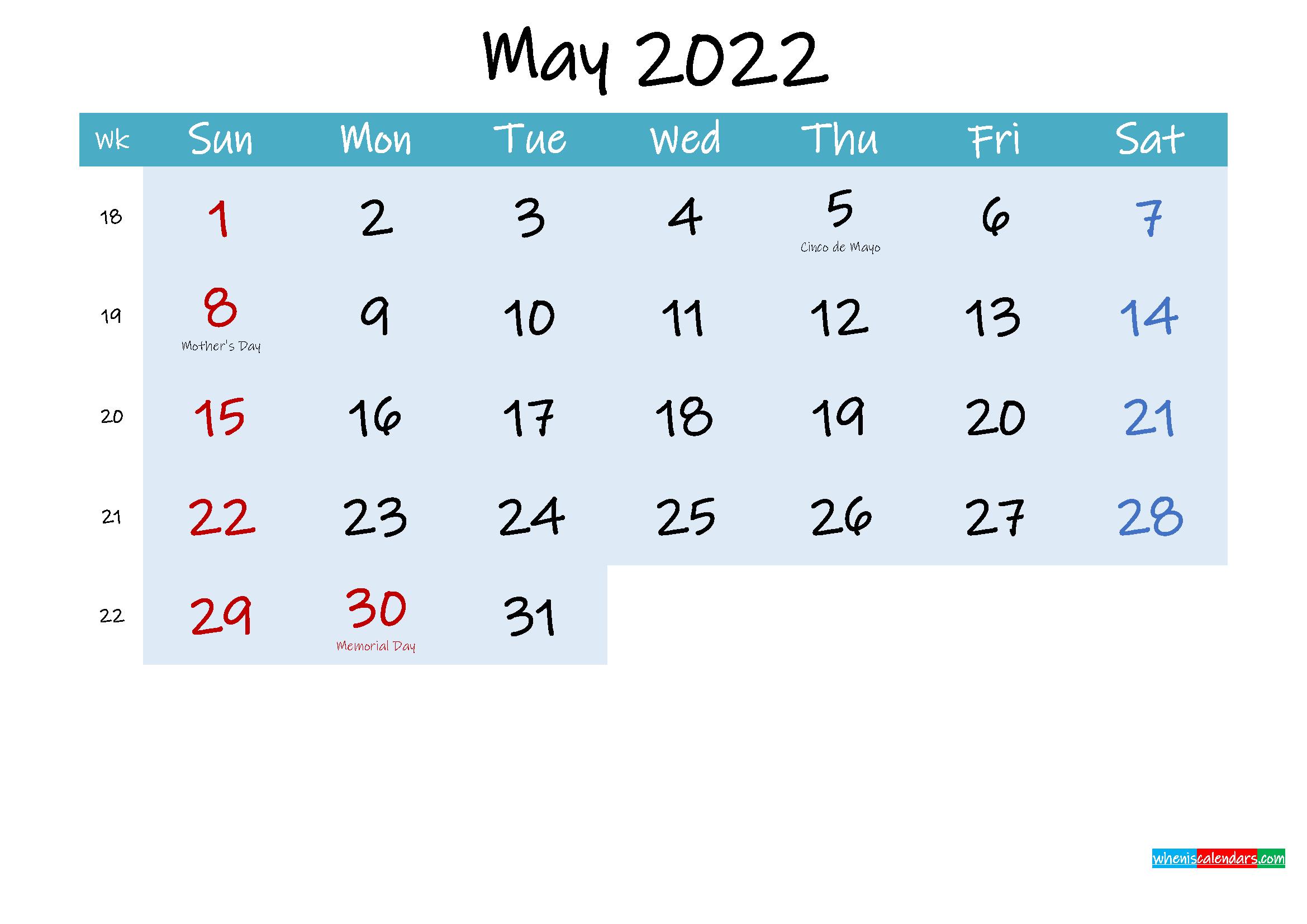 Printable May 2022 Calendar Word