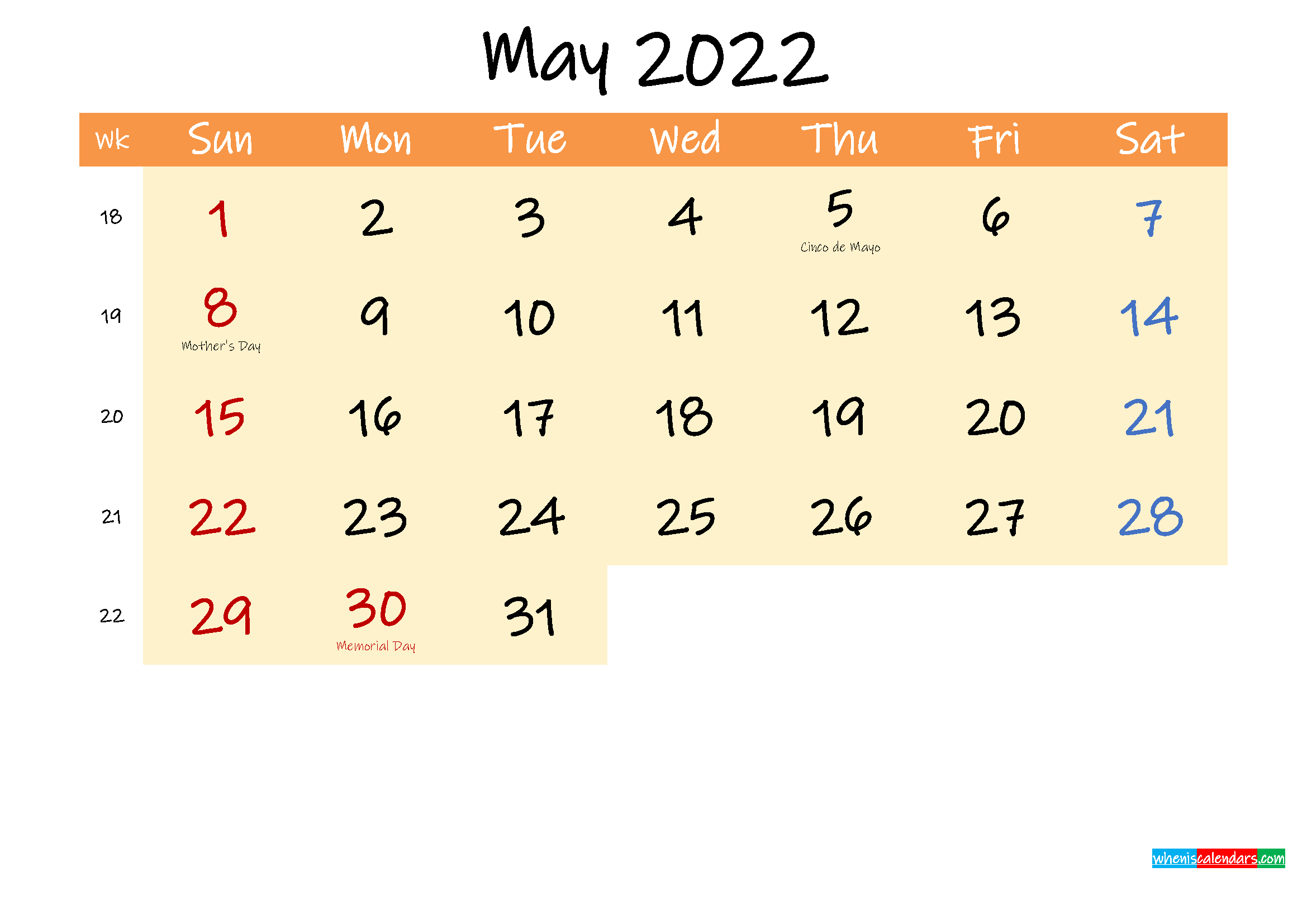 Editable May 2022 Calendar
