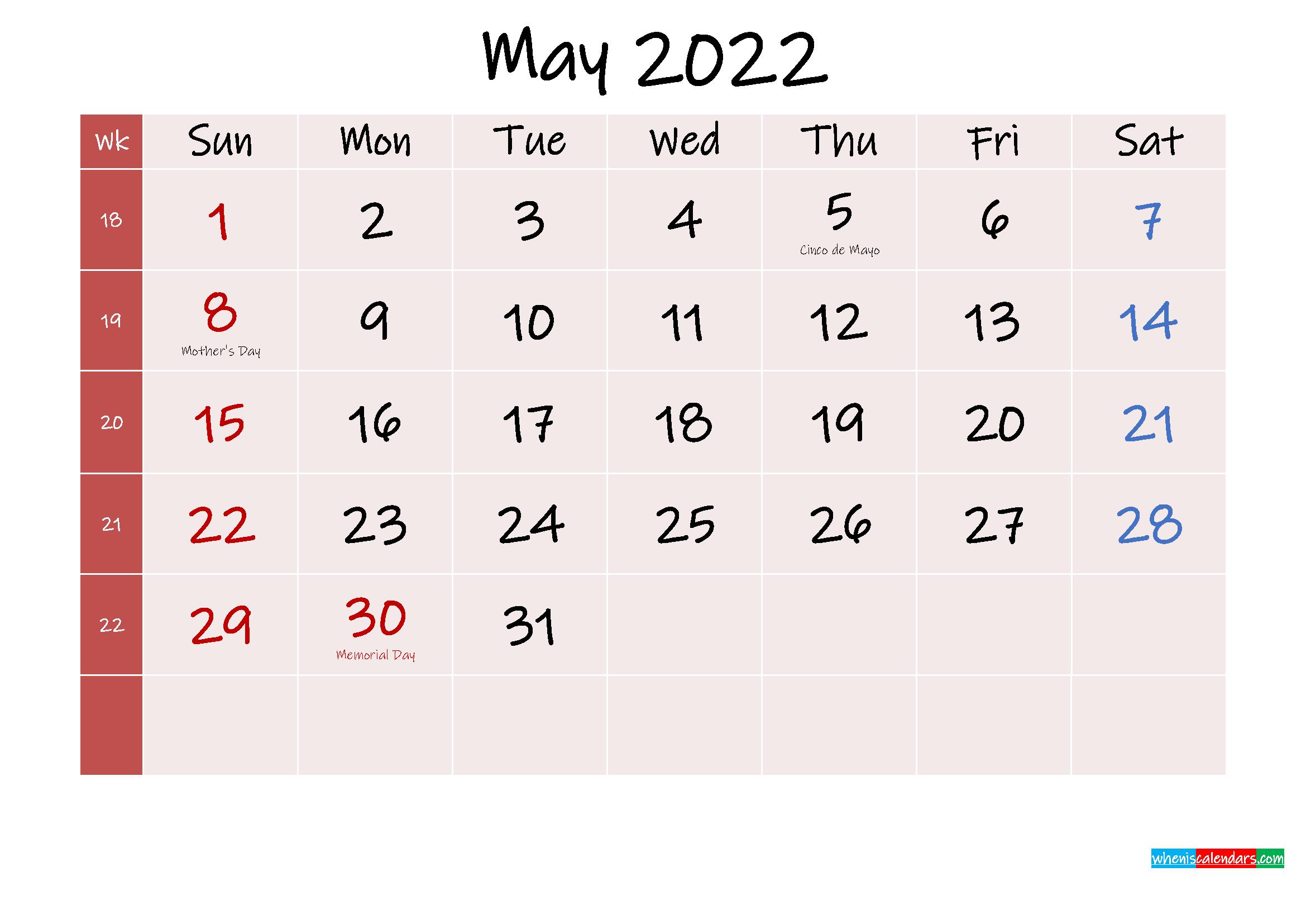 Free Printable May 2022 Calendar with Holidays