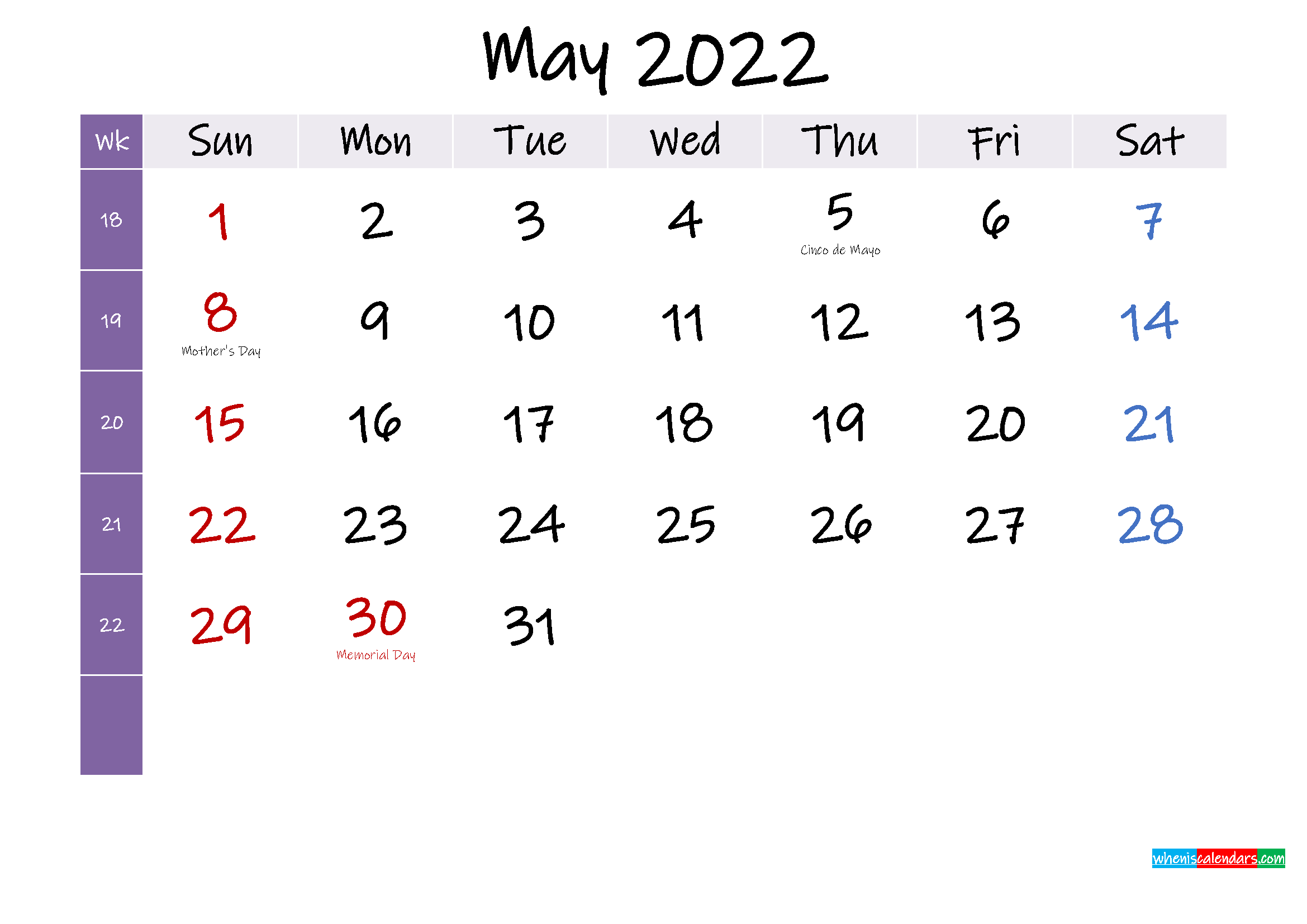 May 2022 Free Printable Calendar with Holidays - Template ...