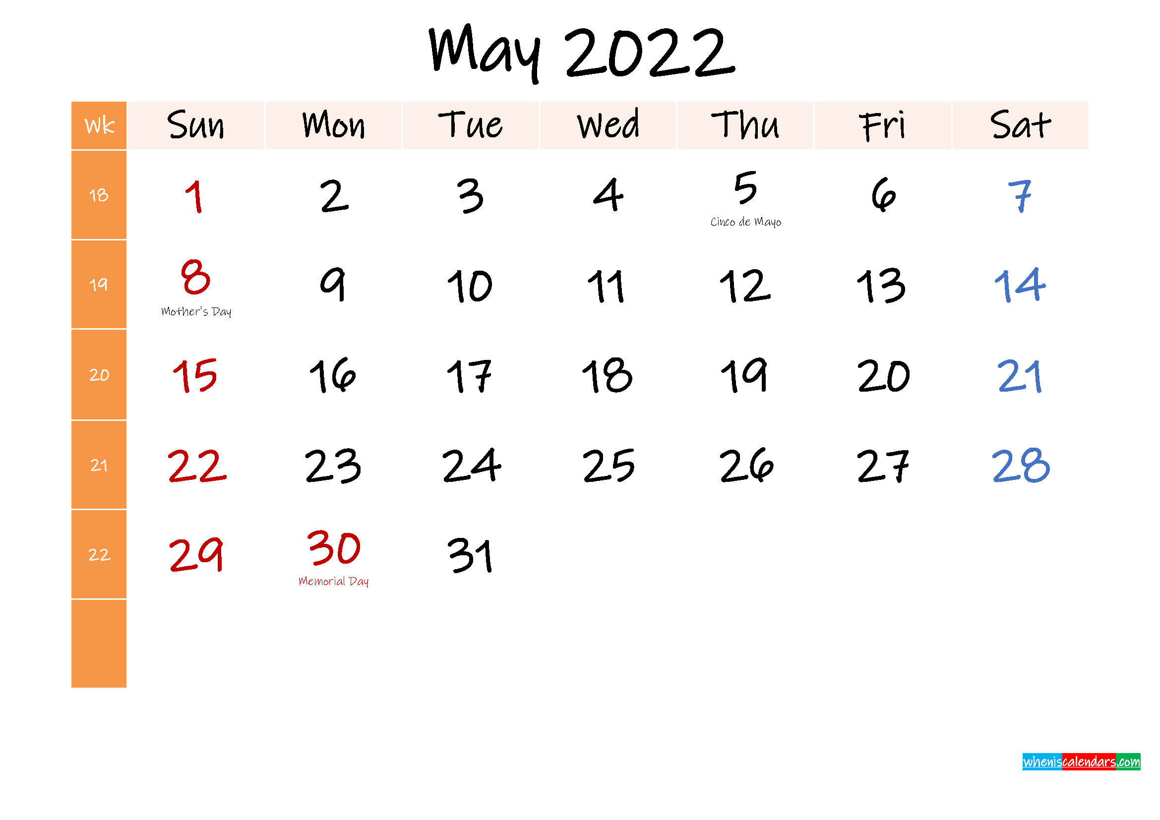 Free May 2022 Monthly Calendar Template Word - Template No ...
