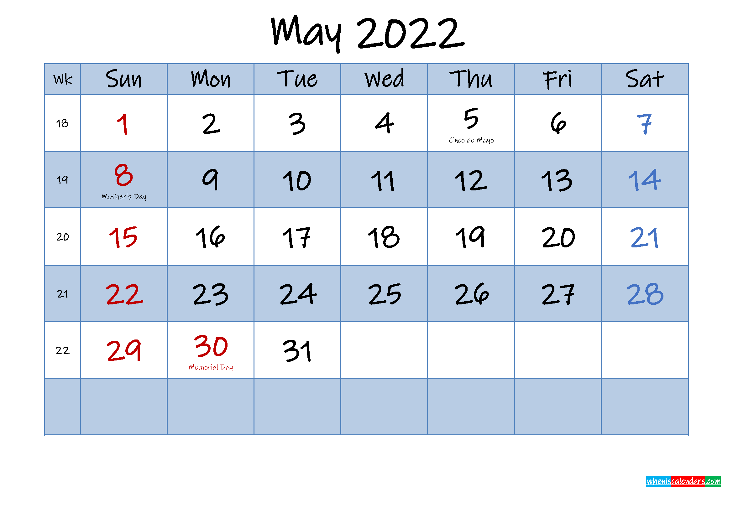 Free May 2022 Monthly Calendar PDF