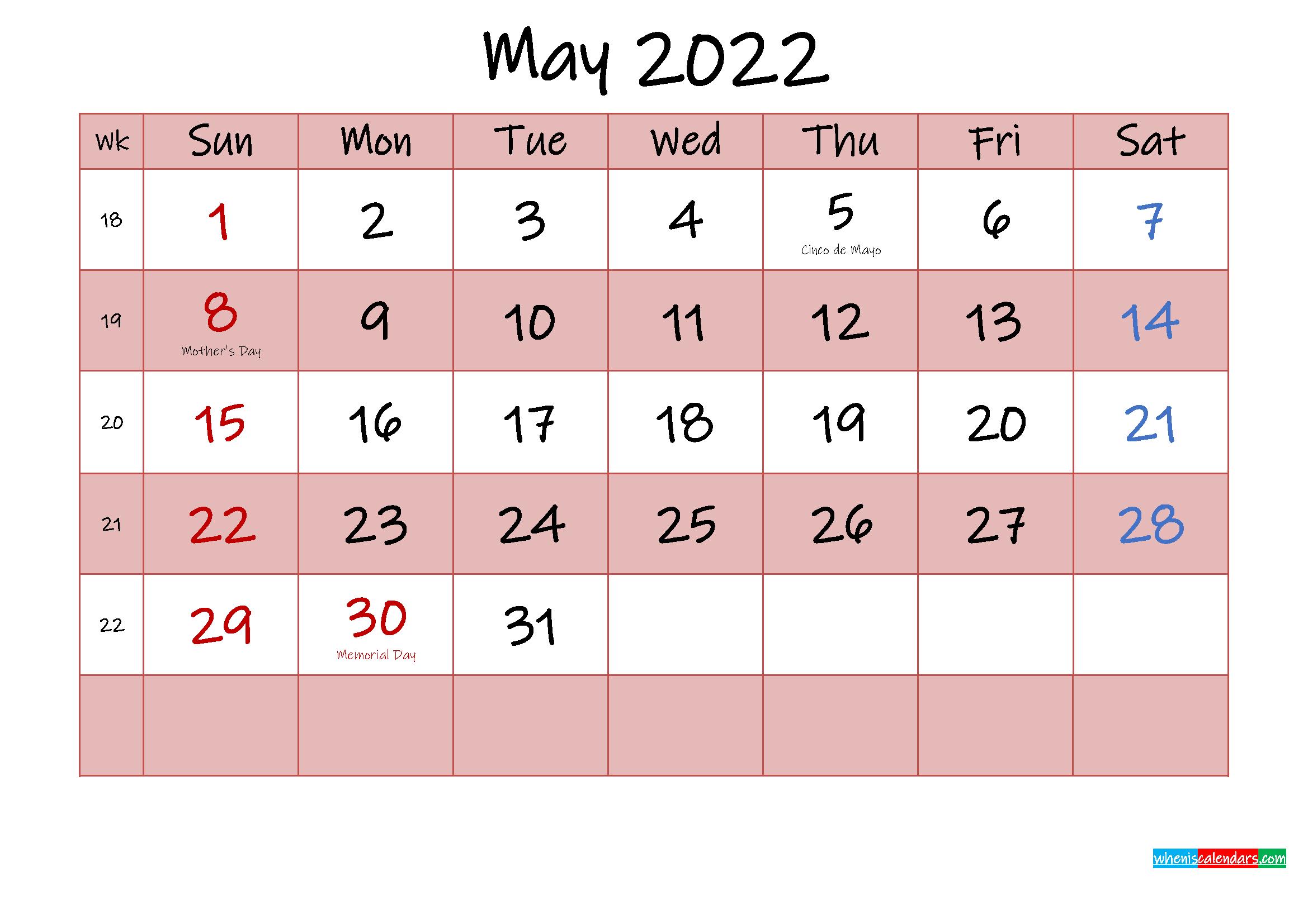 Free Printable Coloring Calendar 2022 May