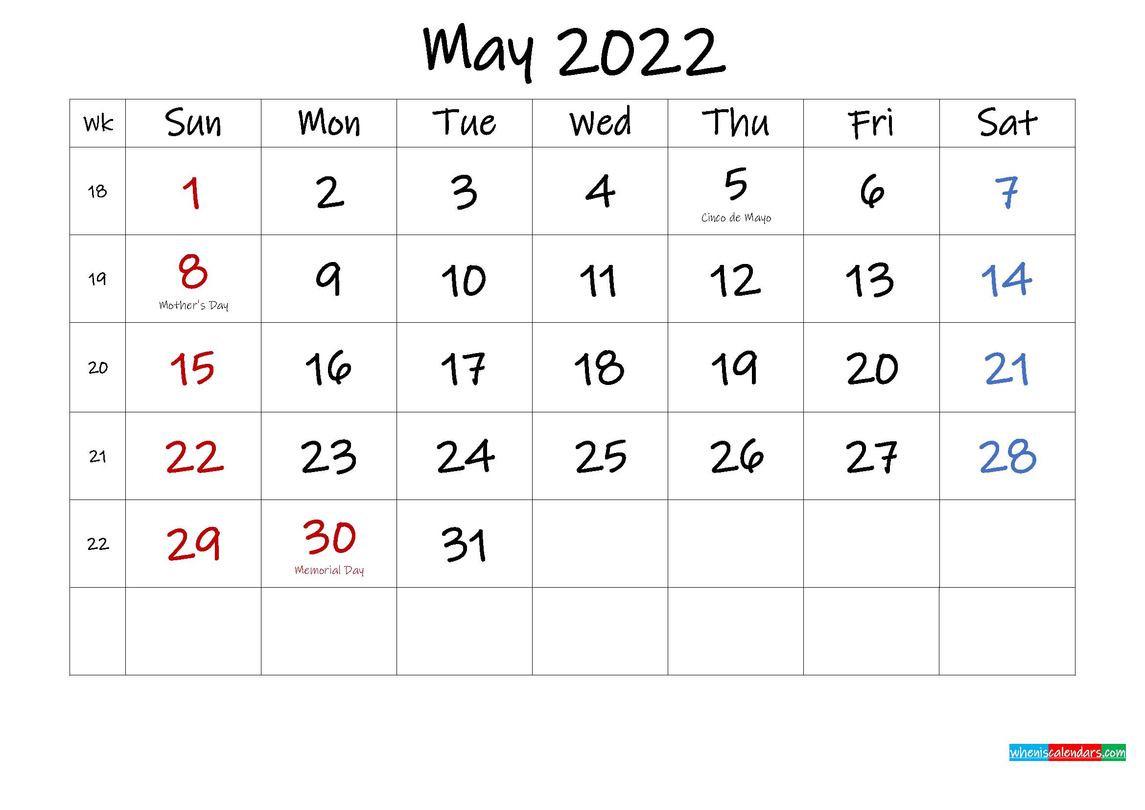 May 2022 Free Printable Calendar with Holidays