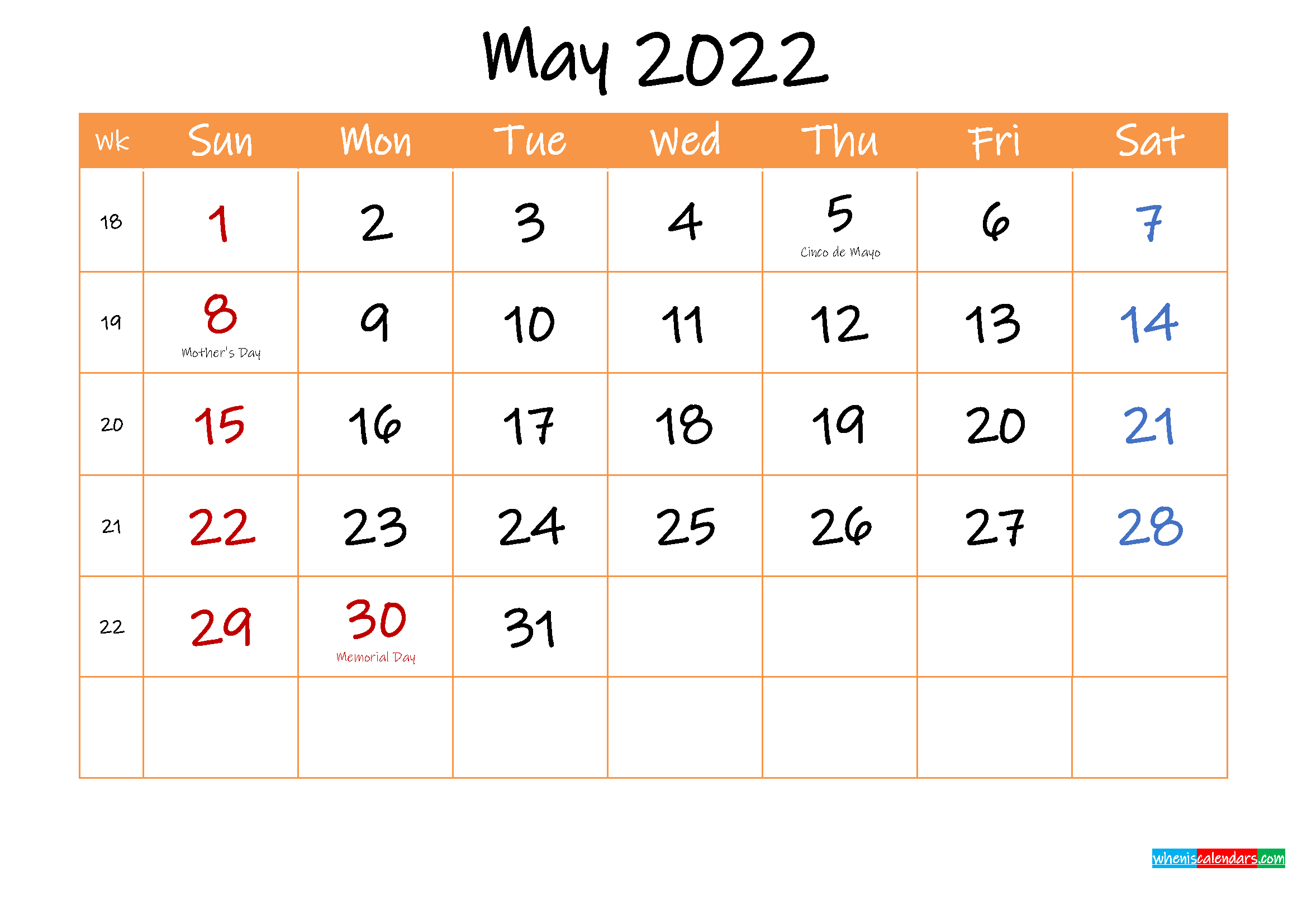 Free Printable Calendar May 2022
