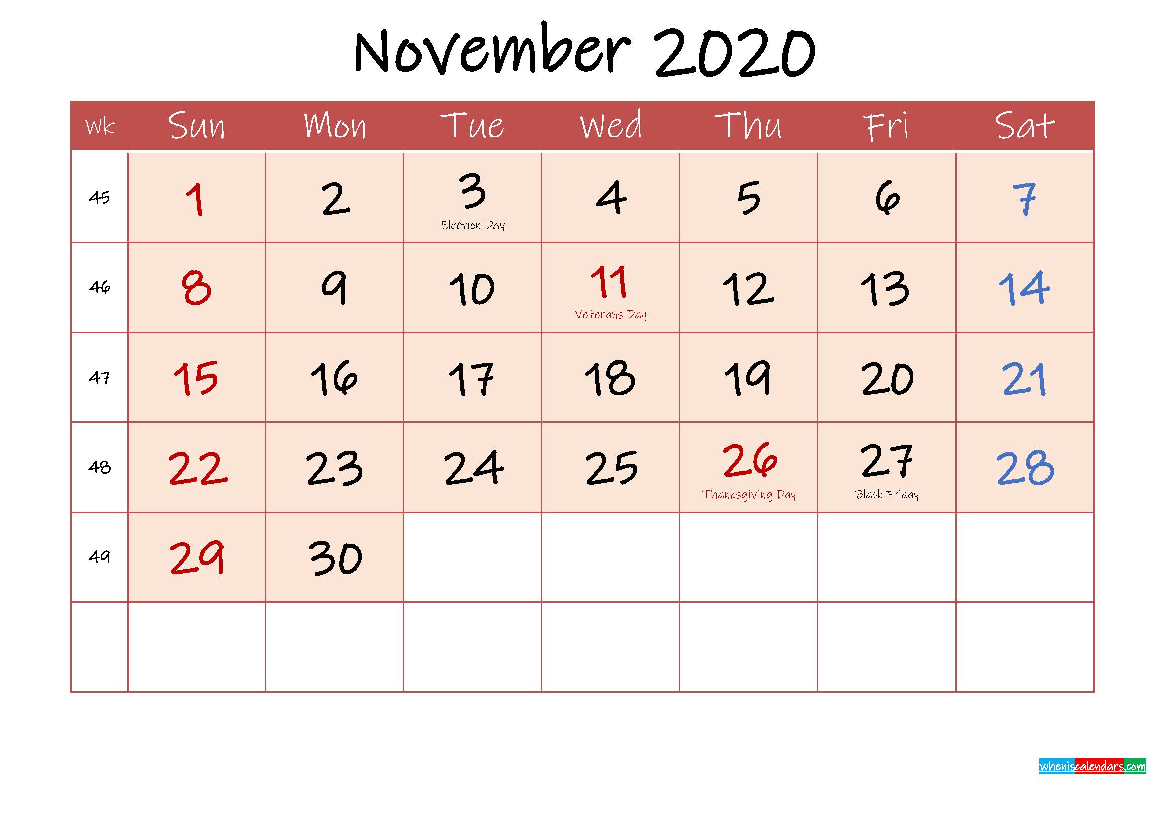 November 2020 Free Printable Calendar with Holidays