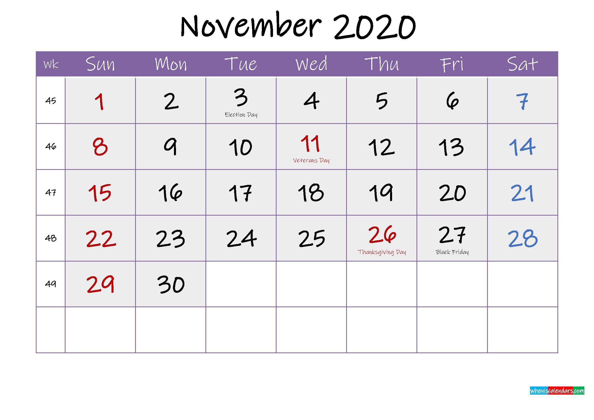 Free November 2020 Printable Calendar with Holidays