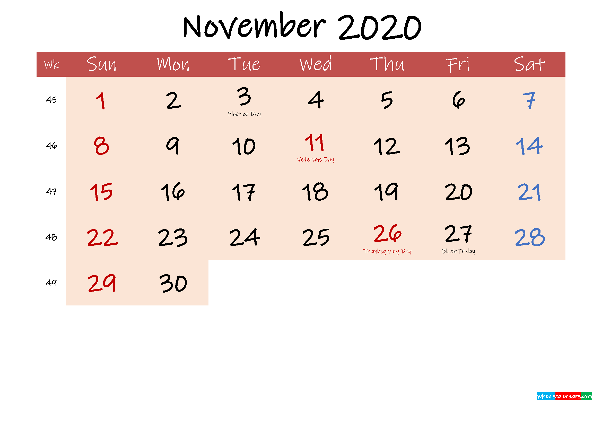 Free Printable Coloring Calendar 2020 November