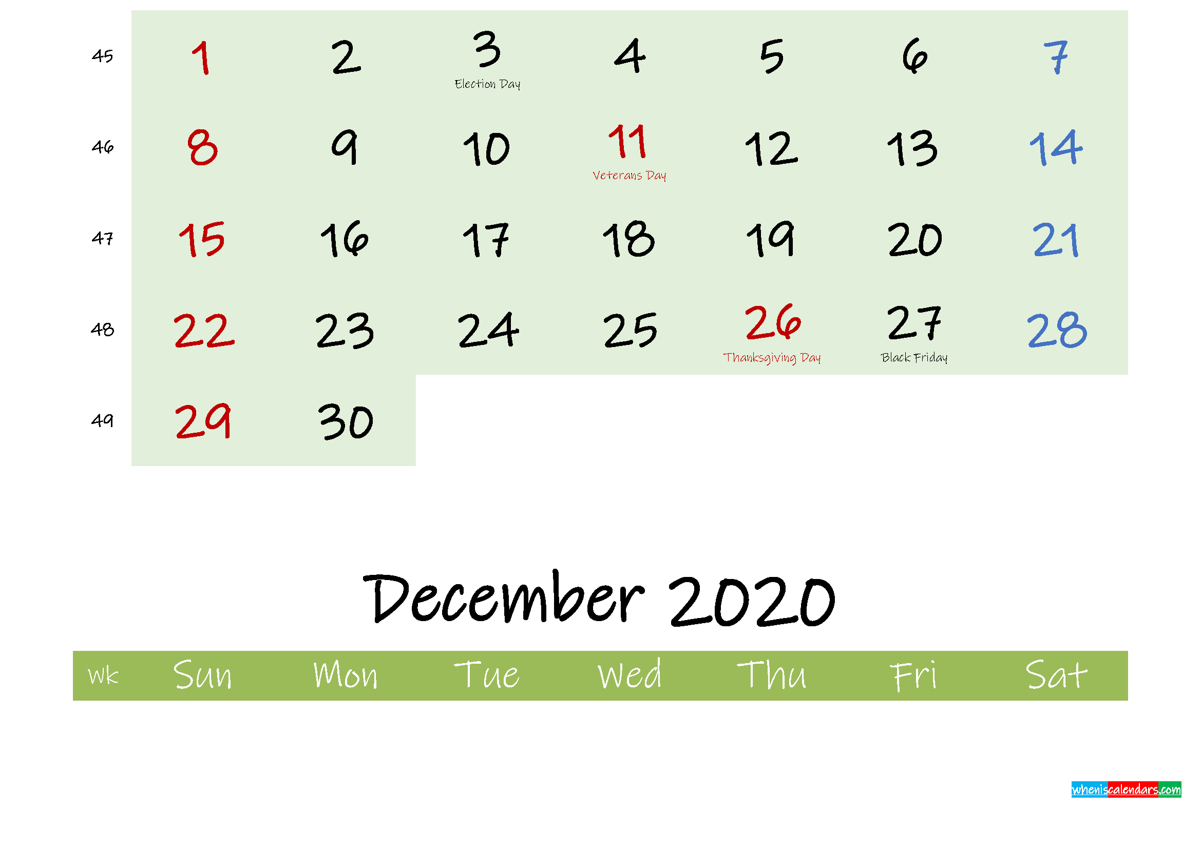 November 2020 Calendar with Holidays Printable