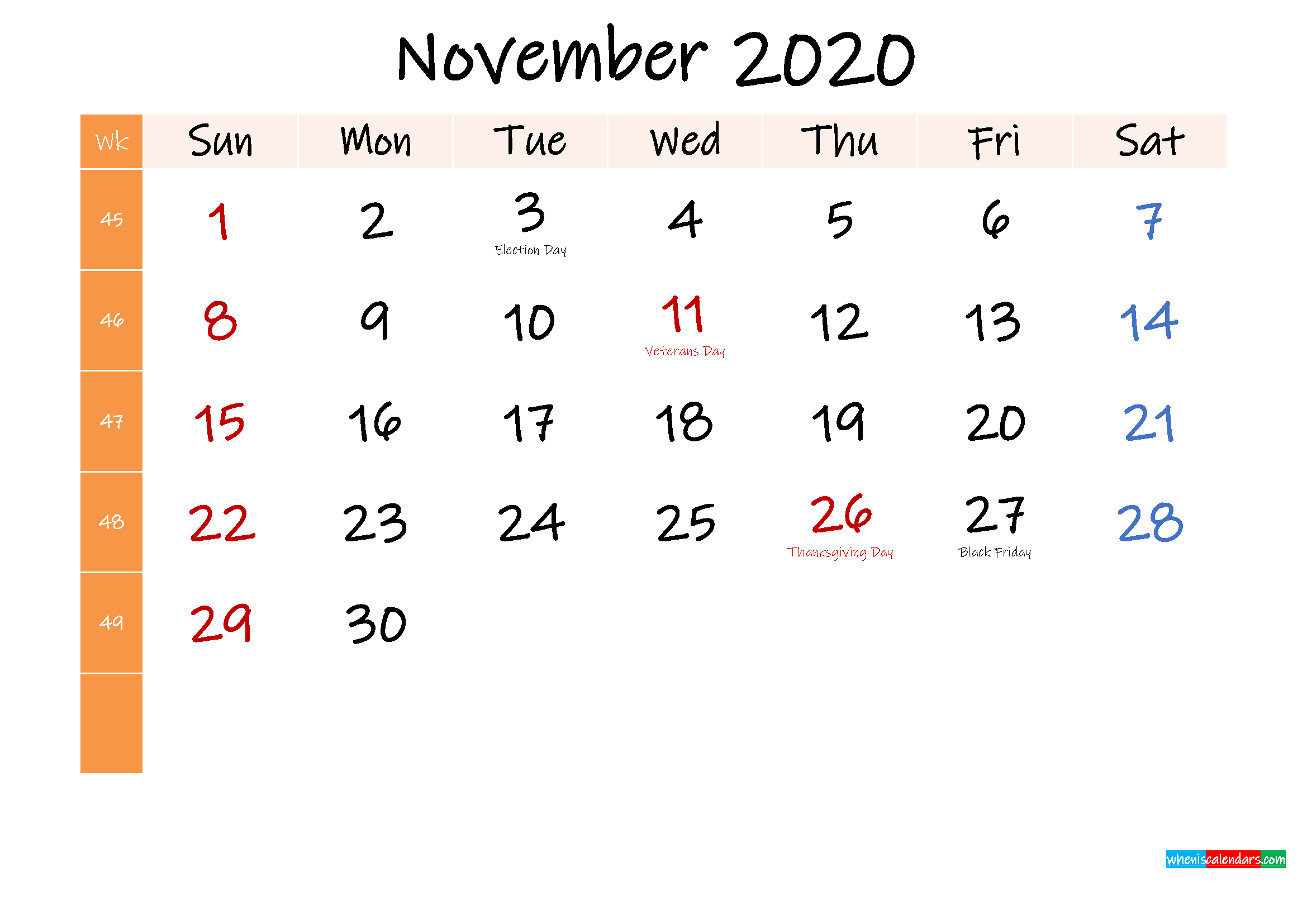 Free November 2020 Monthly Calendar Template Word