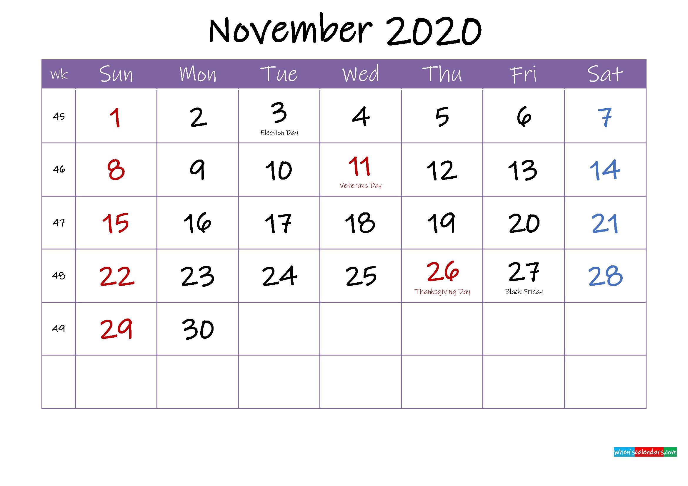 November 2020 Calendar with Holidays Printable