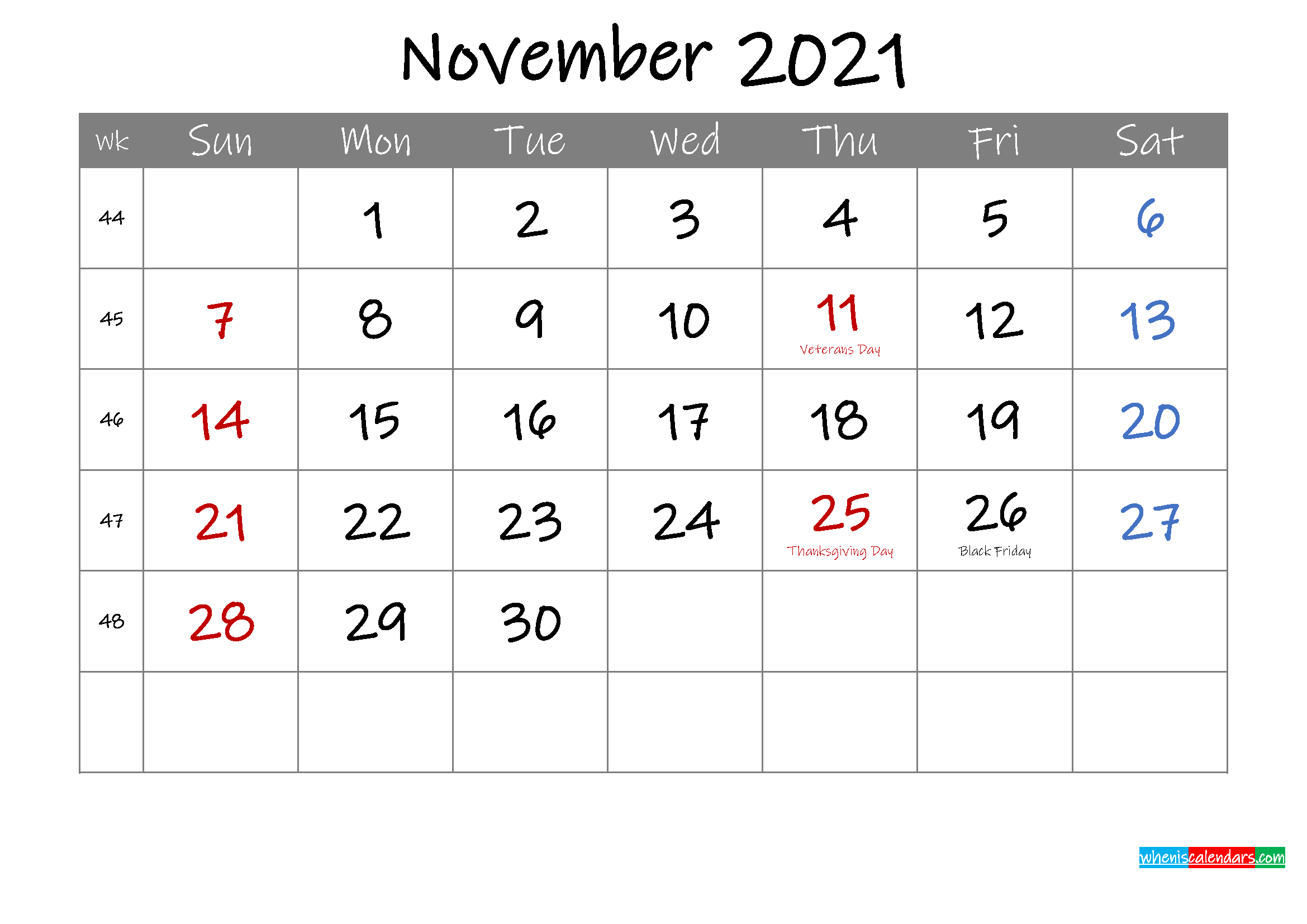 Editable November 2021 Calendar with Holidays