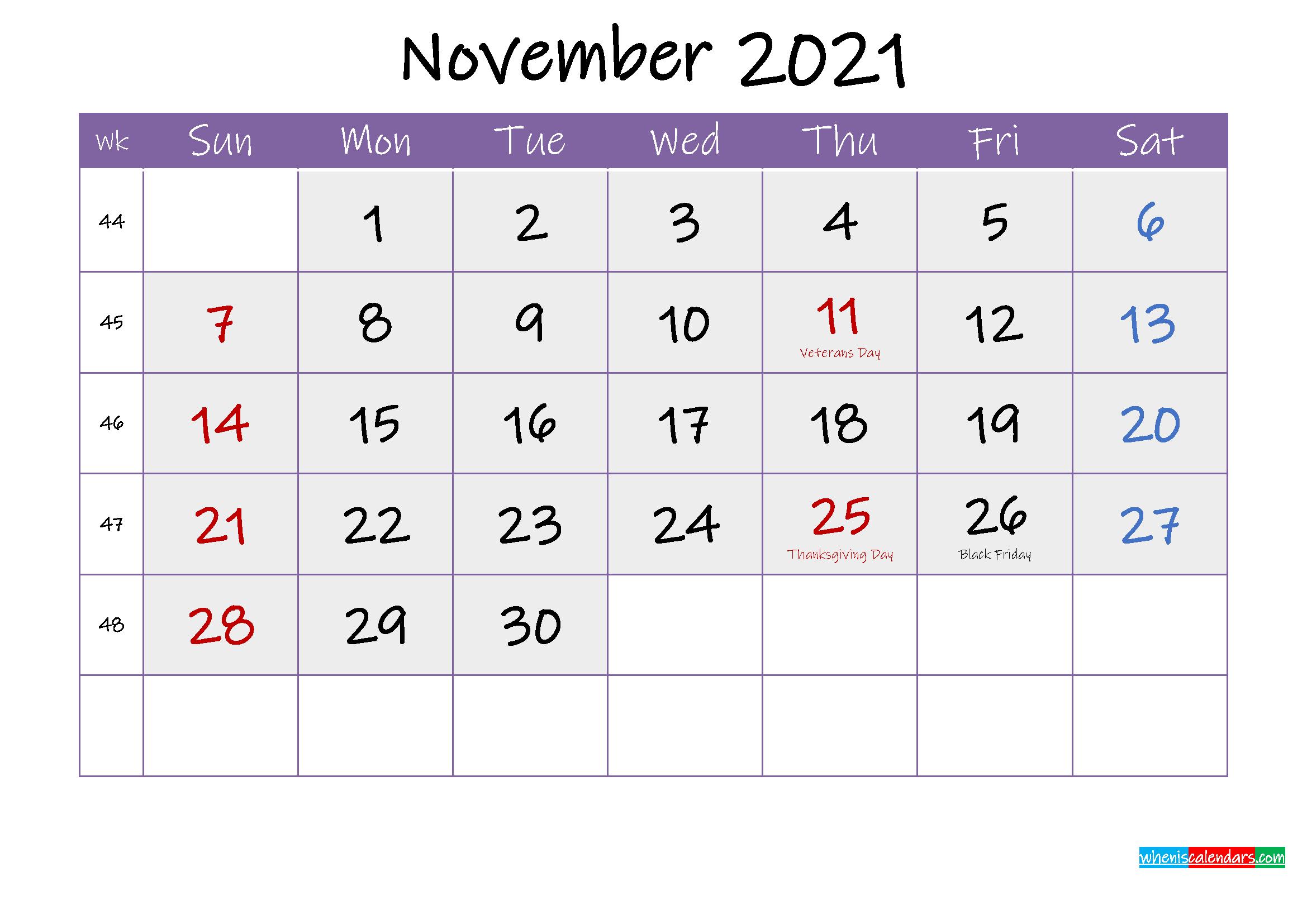 Free November 2021 Printable Calendar with Holidays
