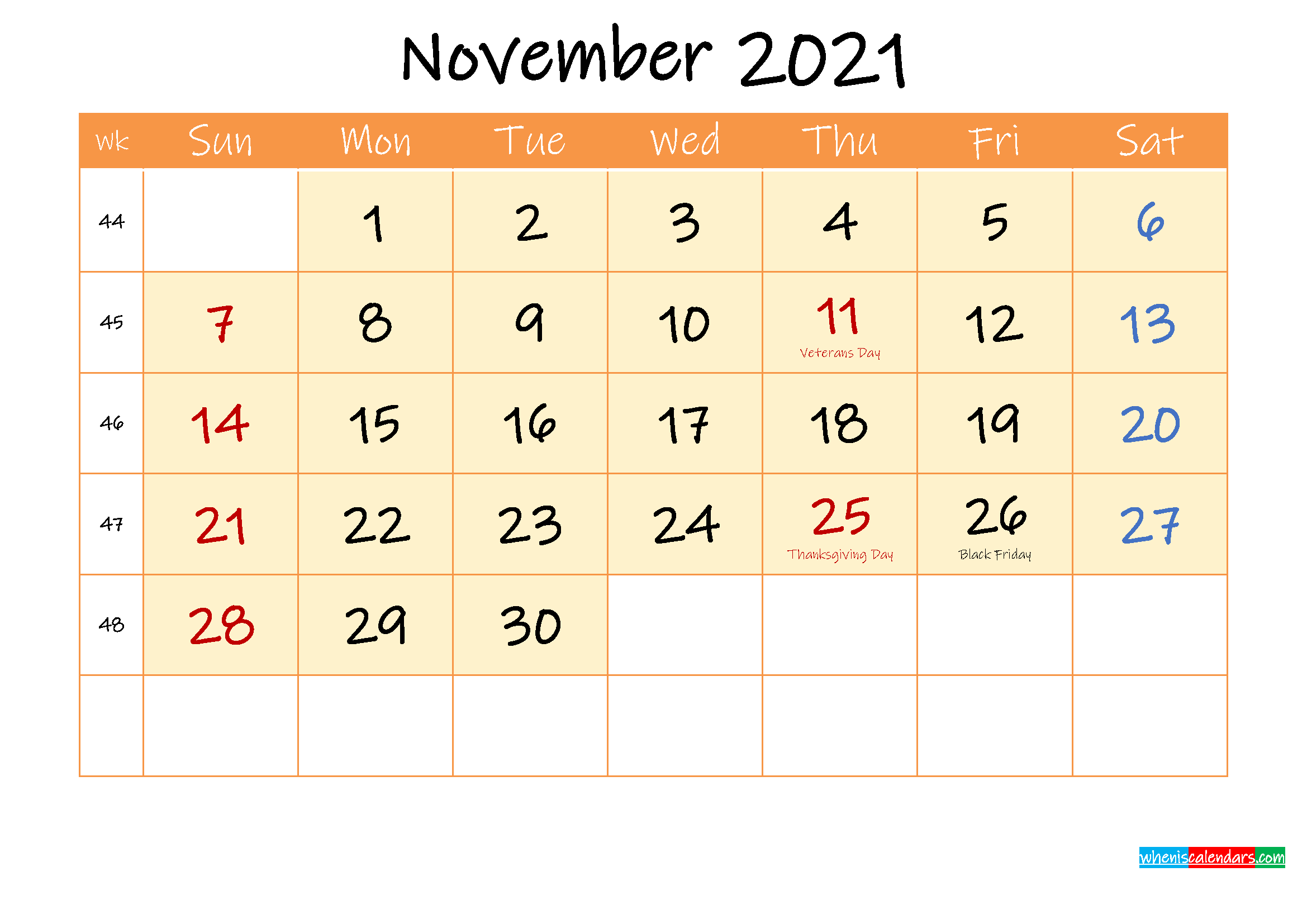 November 2021 Free Printable Calendar