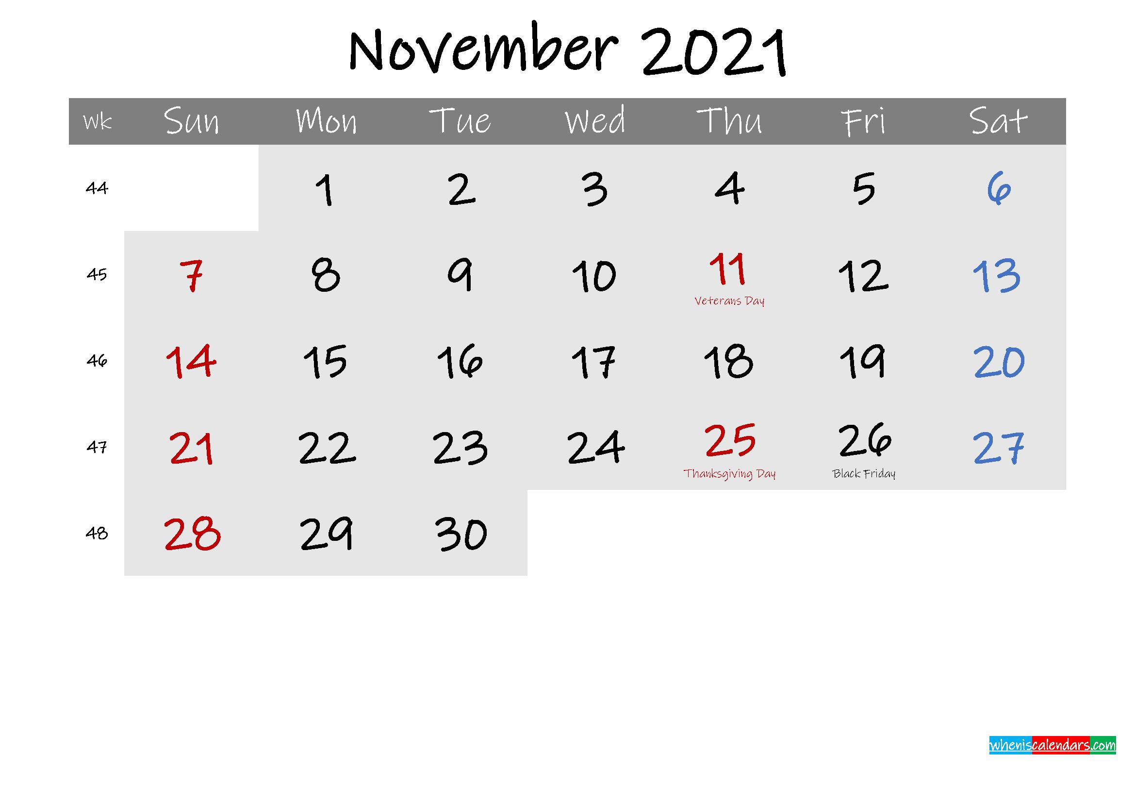 Free November 2021 Monthly Calendar Template Word