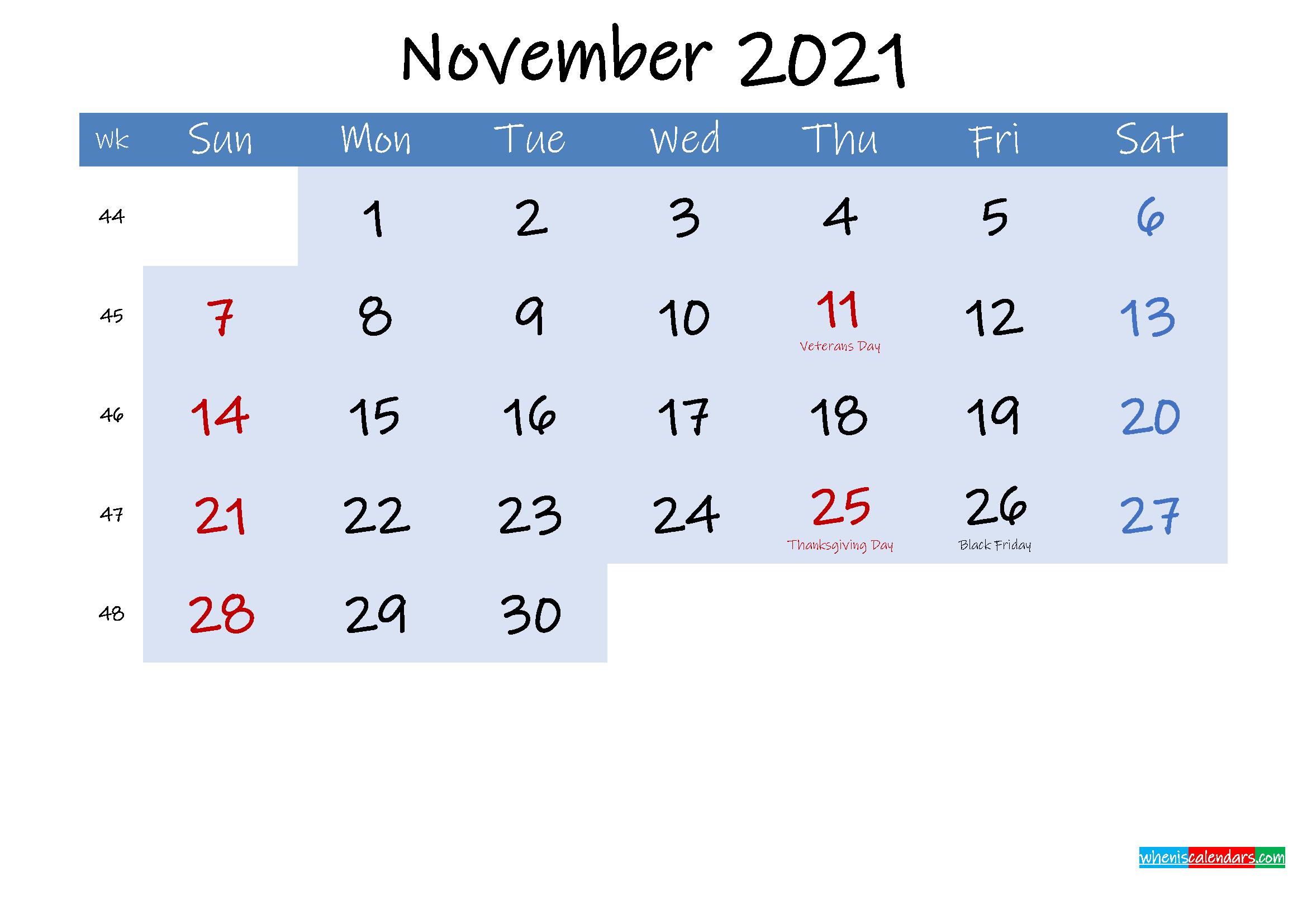Free November 2021 Monthly Calendar PDF