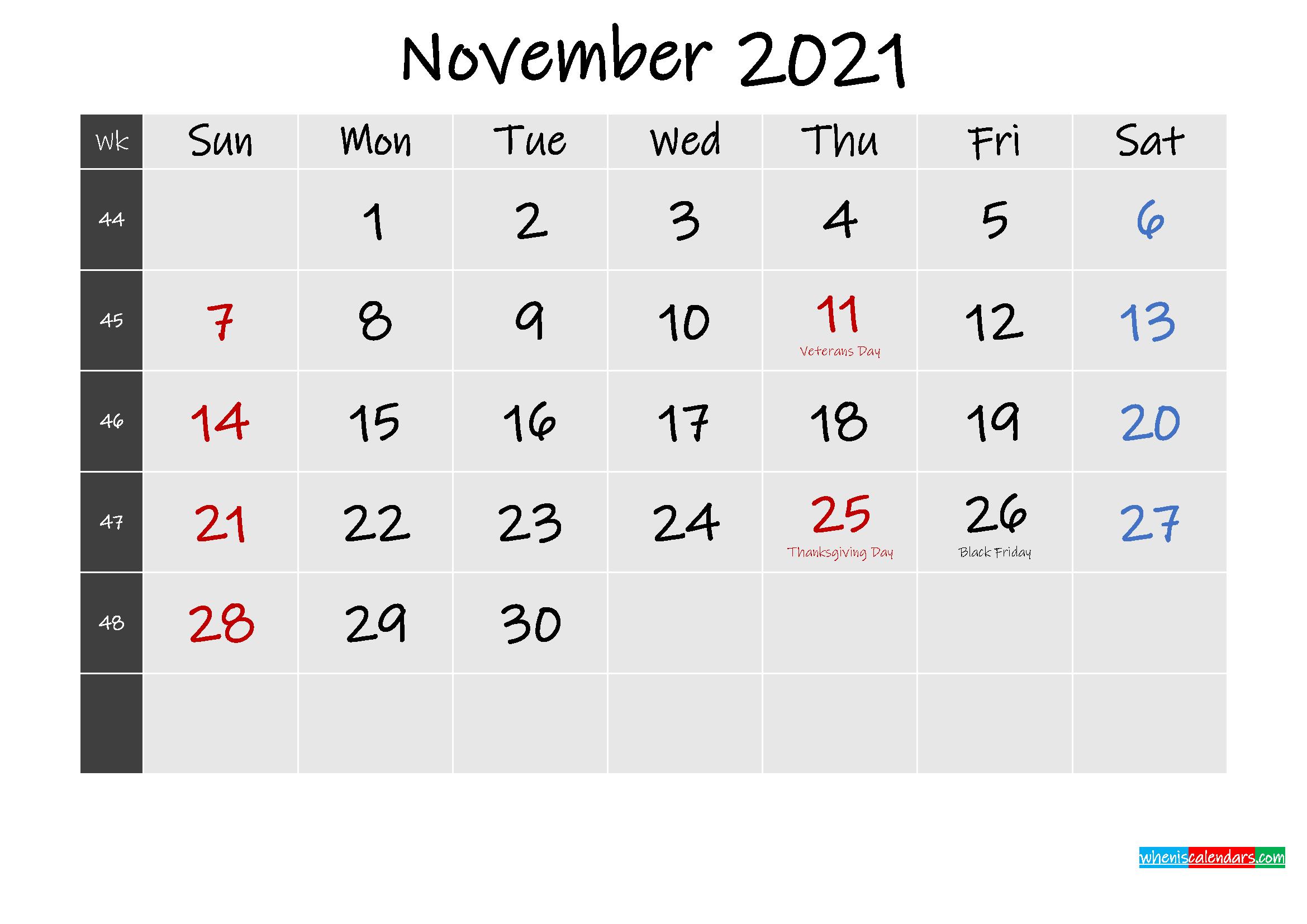 Printable November 2021 Calendar Word