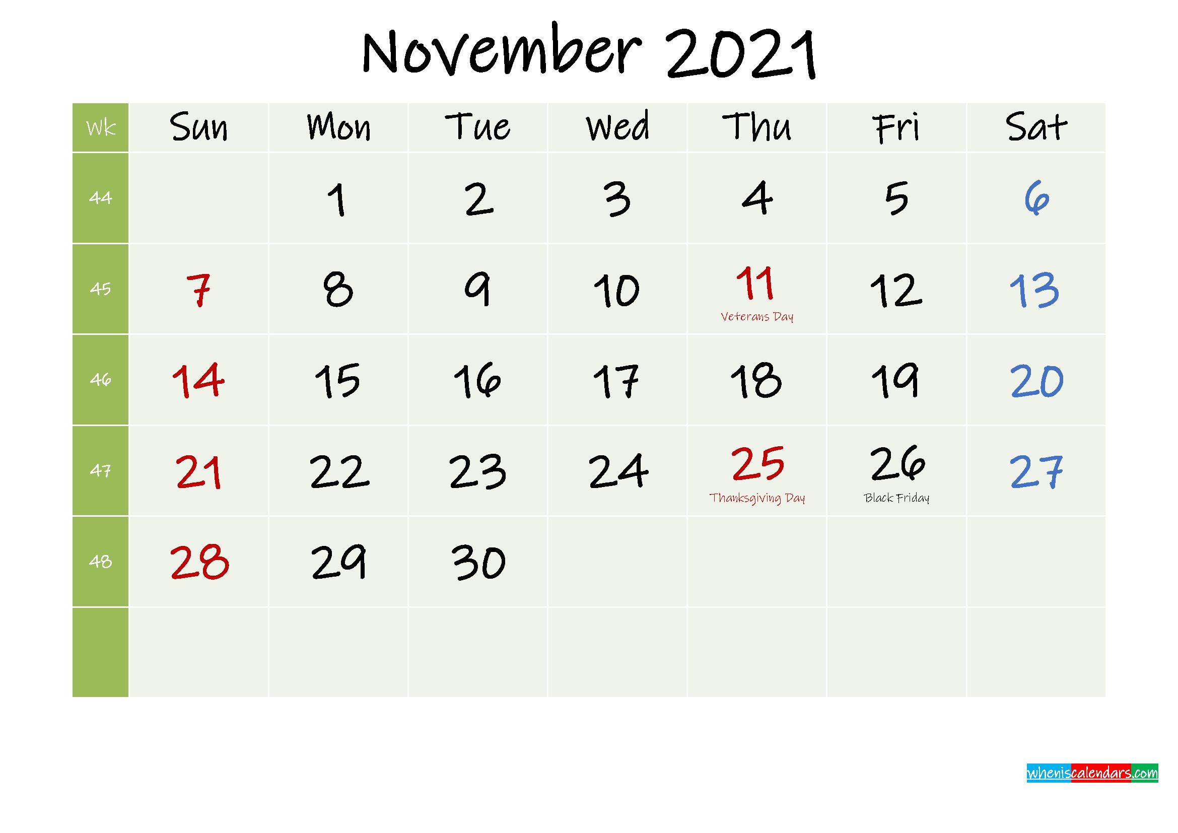 November 2021 Calendar with Holidays Printable