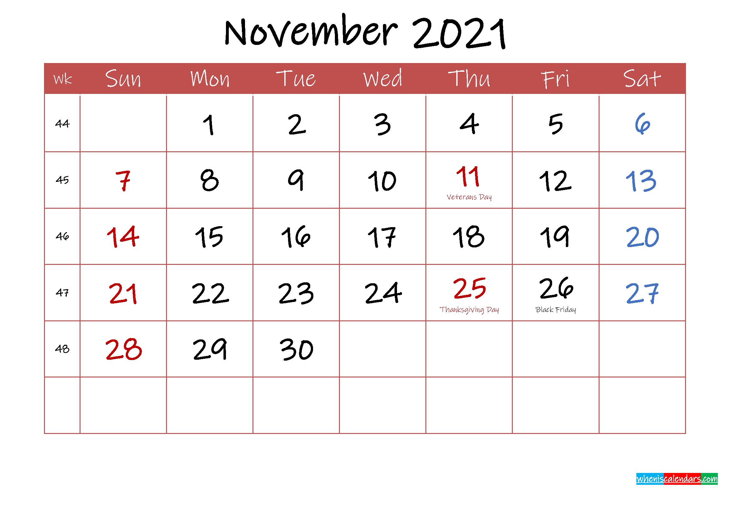 Printable November 2021 Calendar with Holidays