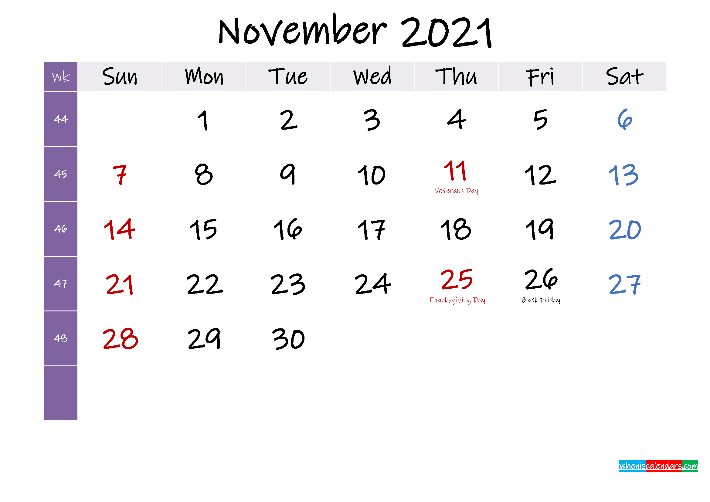 November 2021 Free Printable Calendar with Holidays