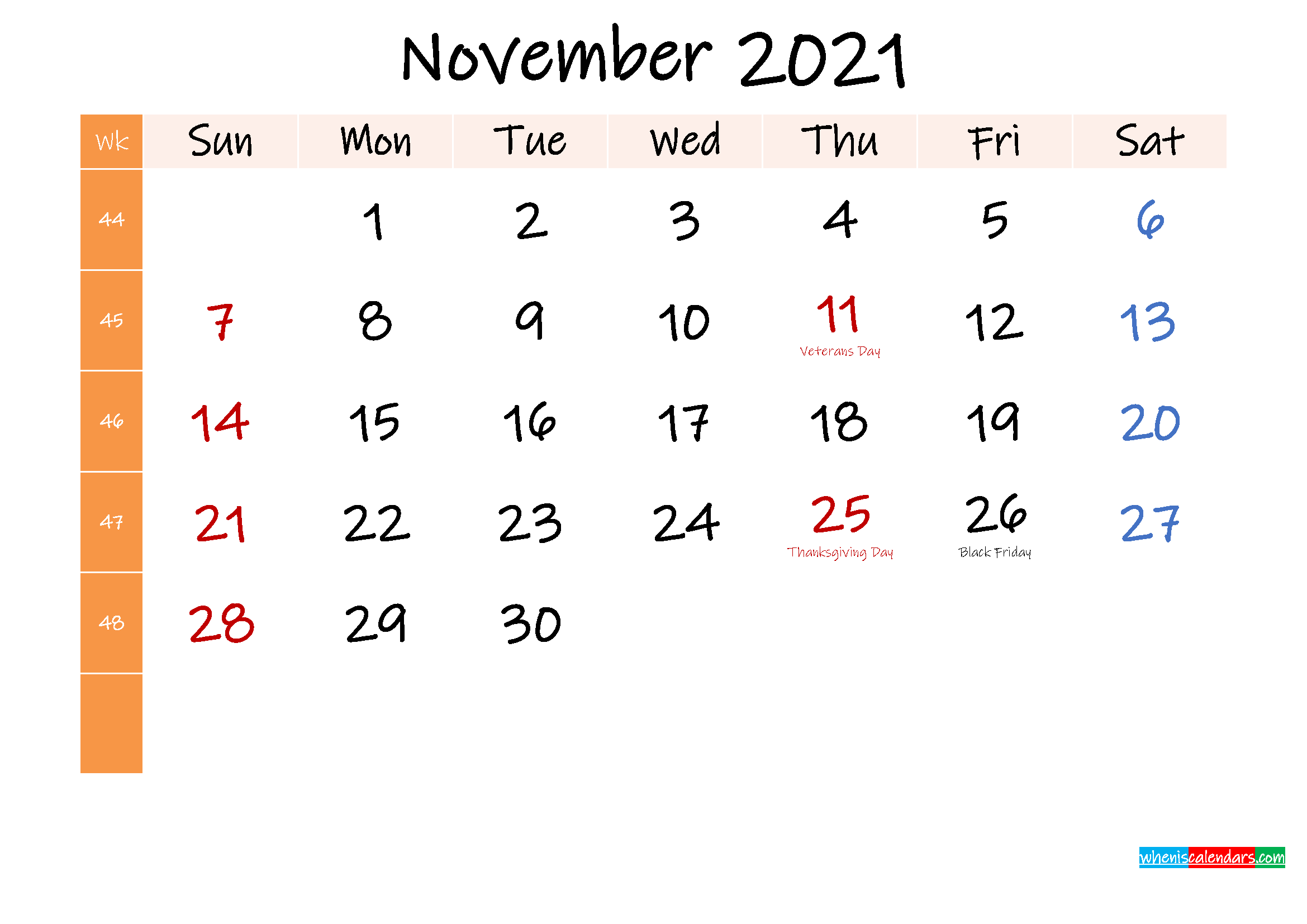 Free November 2021 Monthly Calendar Template Word ...