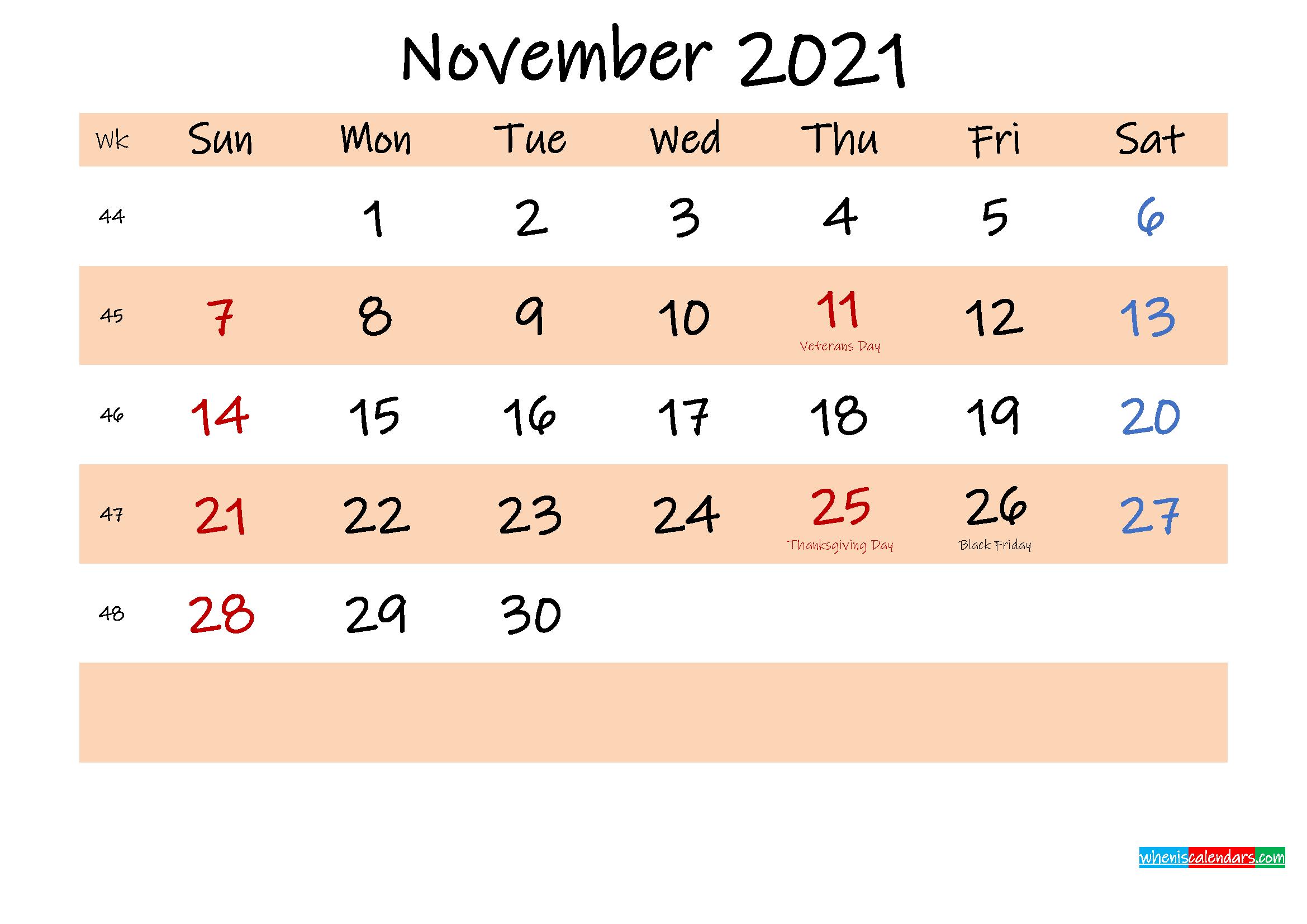 Printable Calendar November 2021