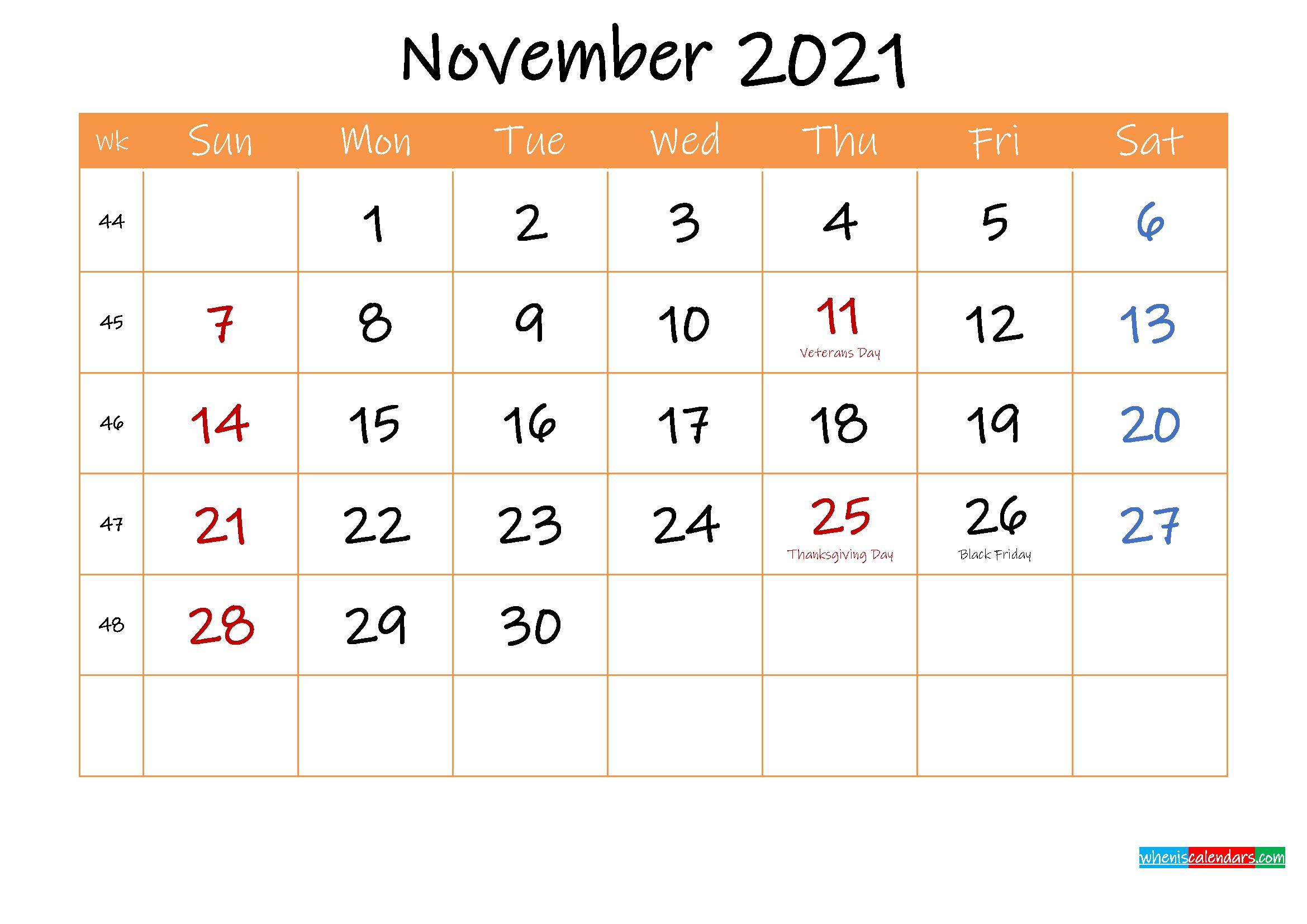 Free Printable Calendar November 2021