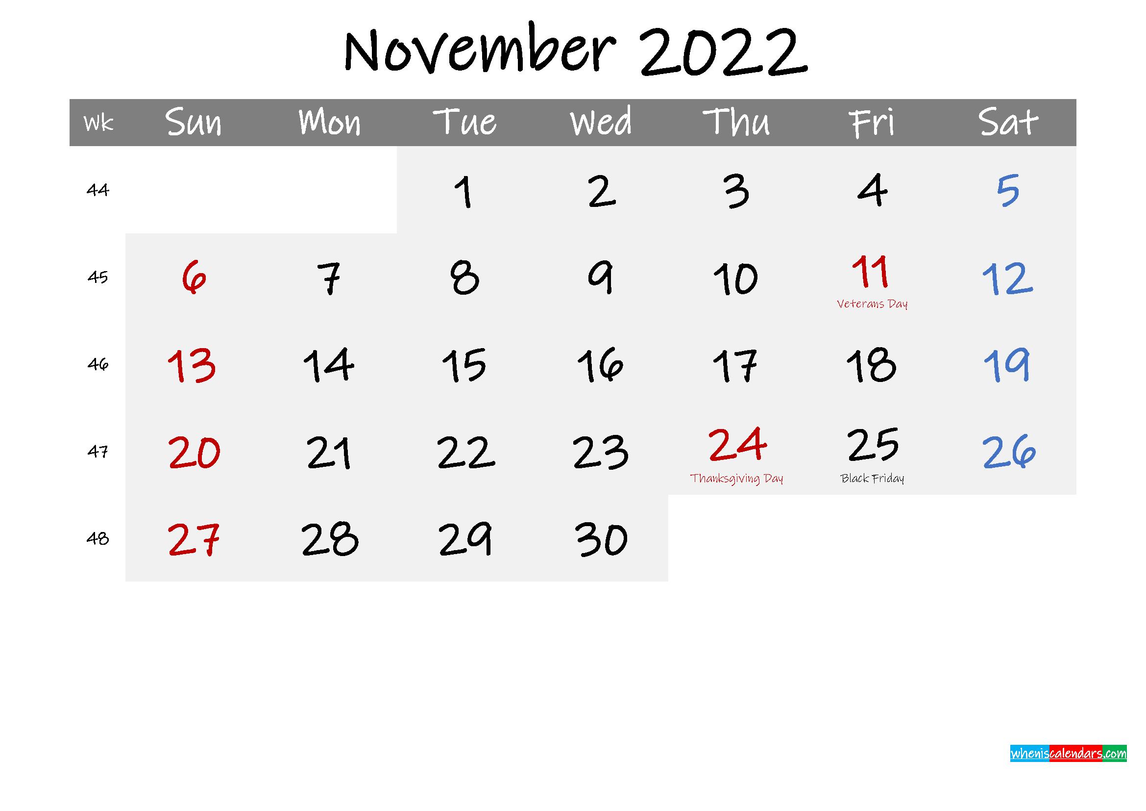 Free November 2022 Monthly Calendar Template Word