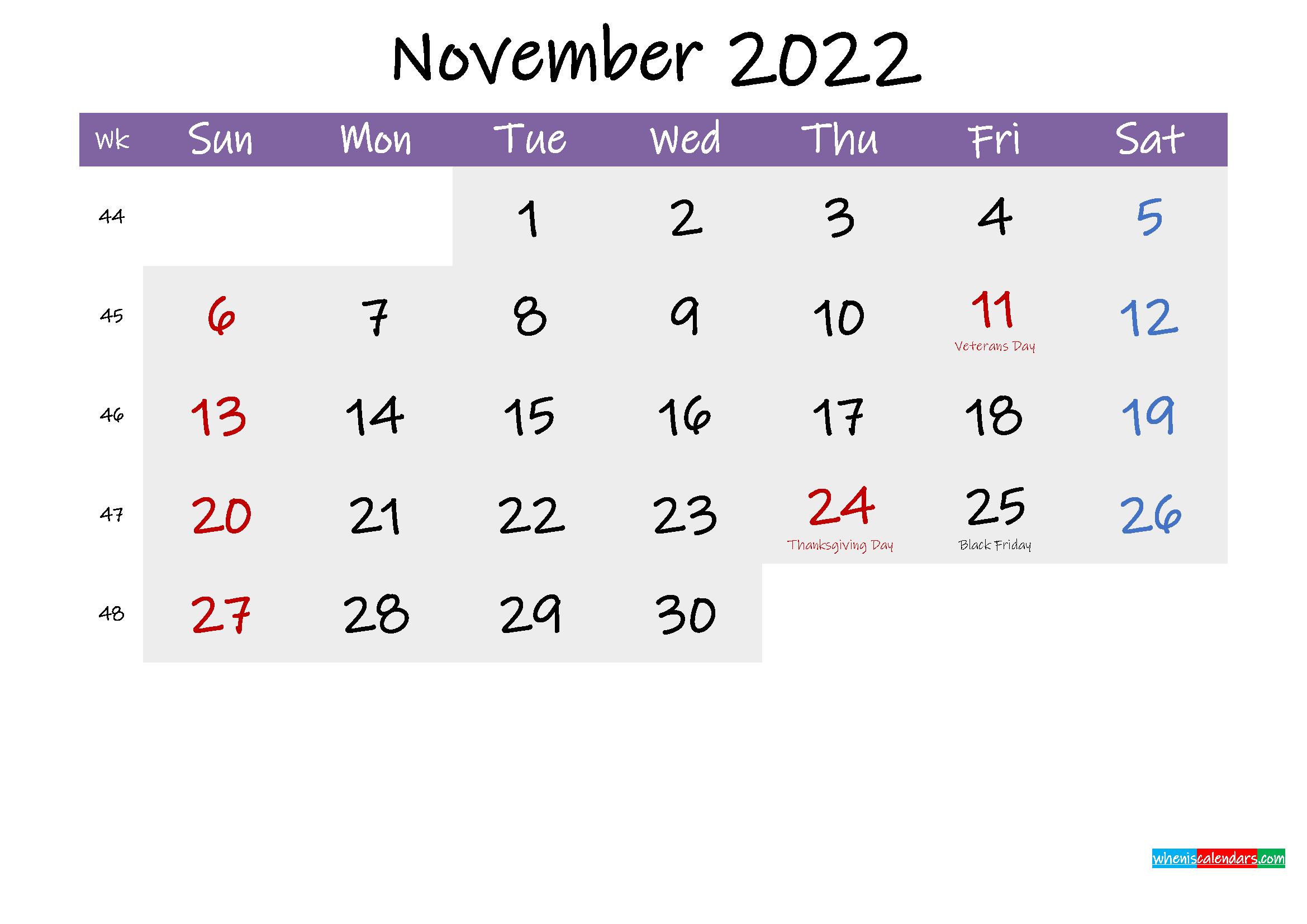 Editable November 2022 Calendar Word