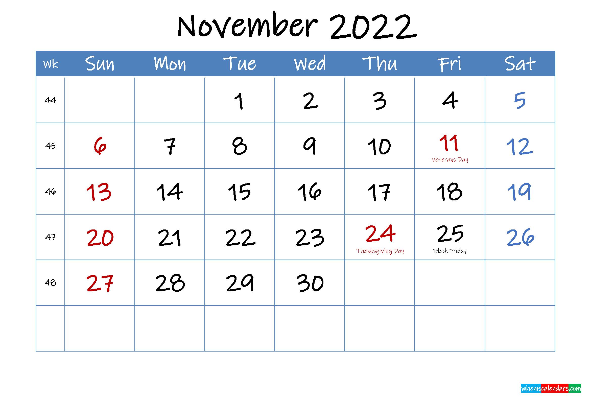 Printable November 2022 Calendar Word
