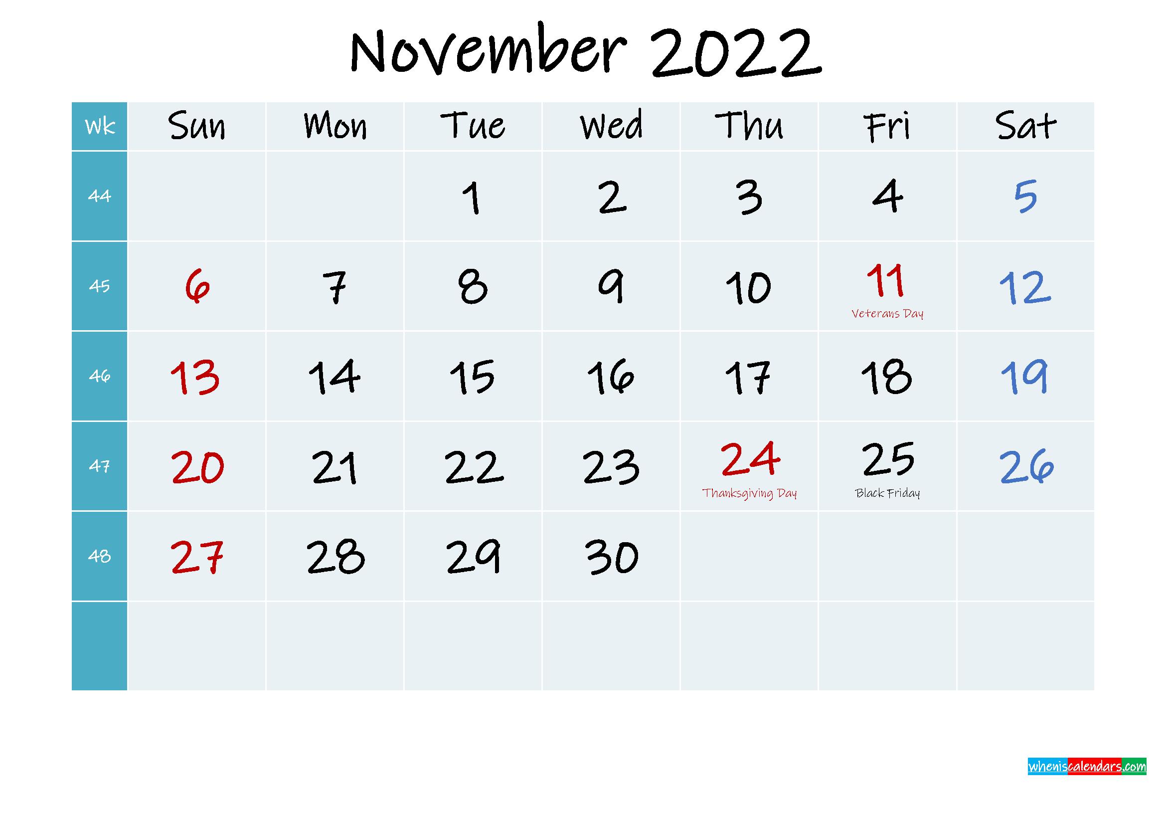 Printable Calendar November 2022