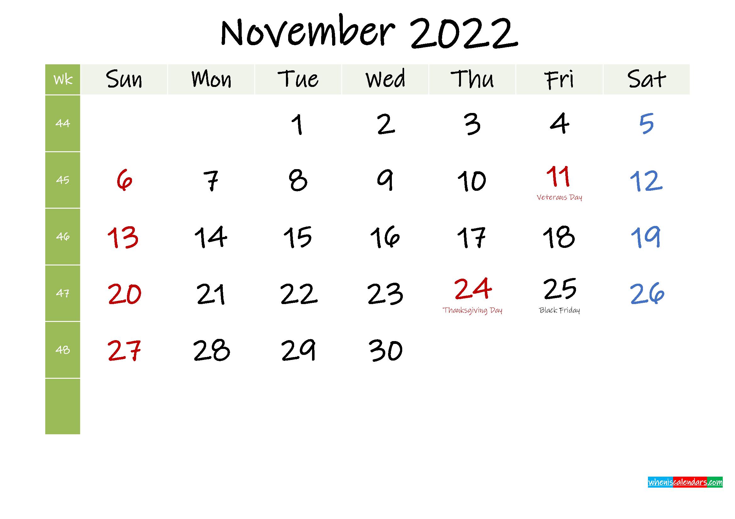 Free November 2022 Printable Calendar with Holidays