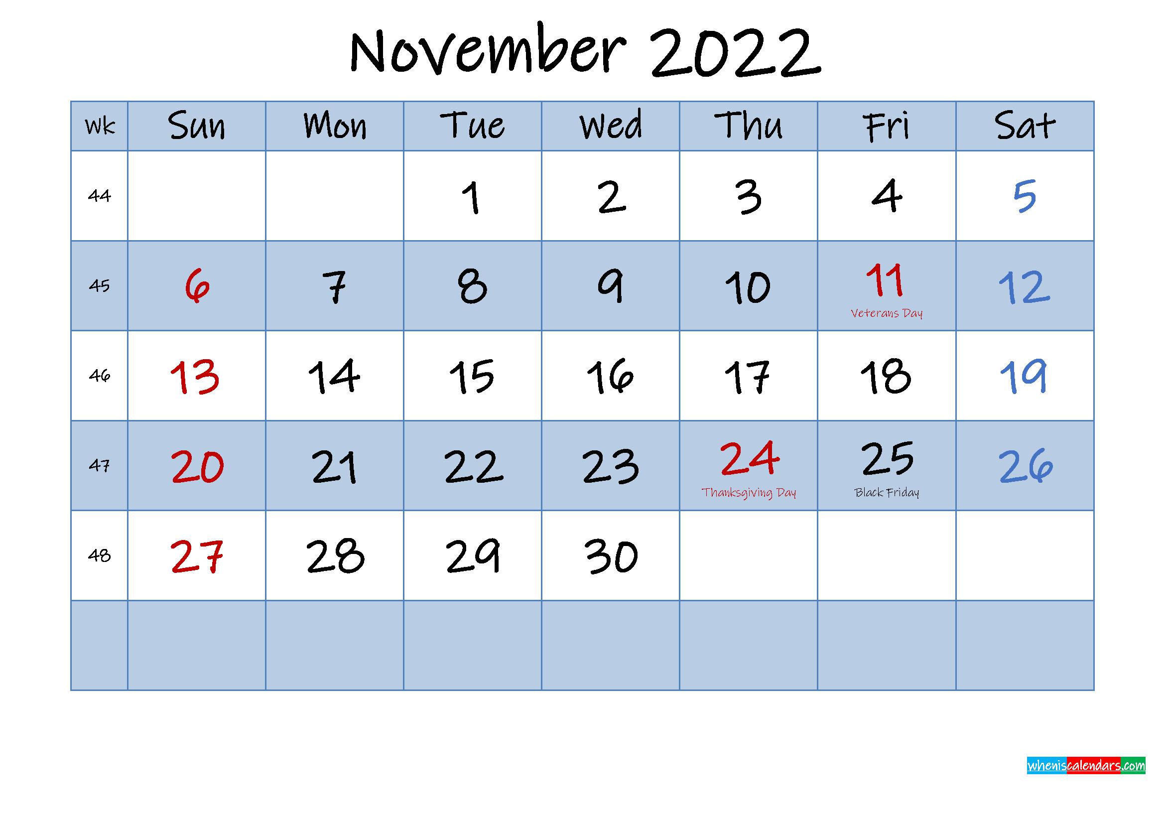 Free November 2022 Monthly Calendar PDF