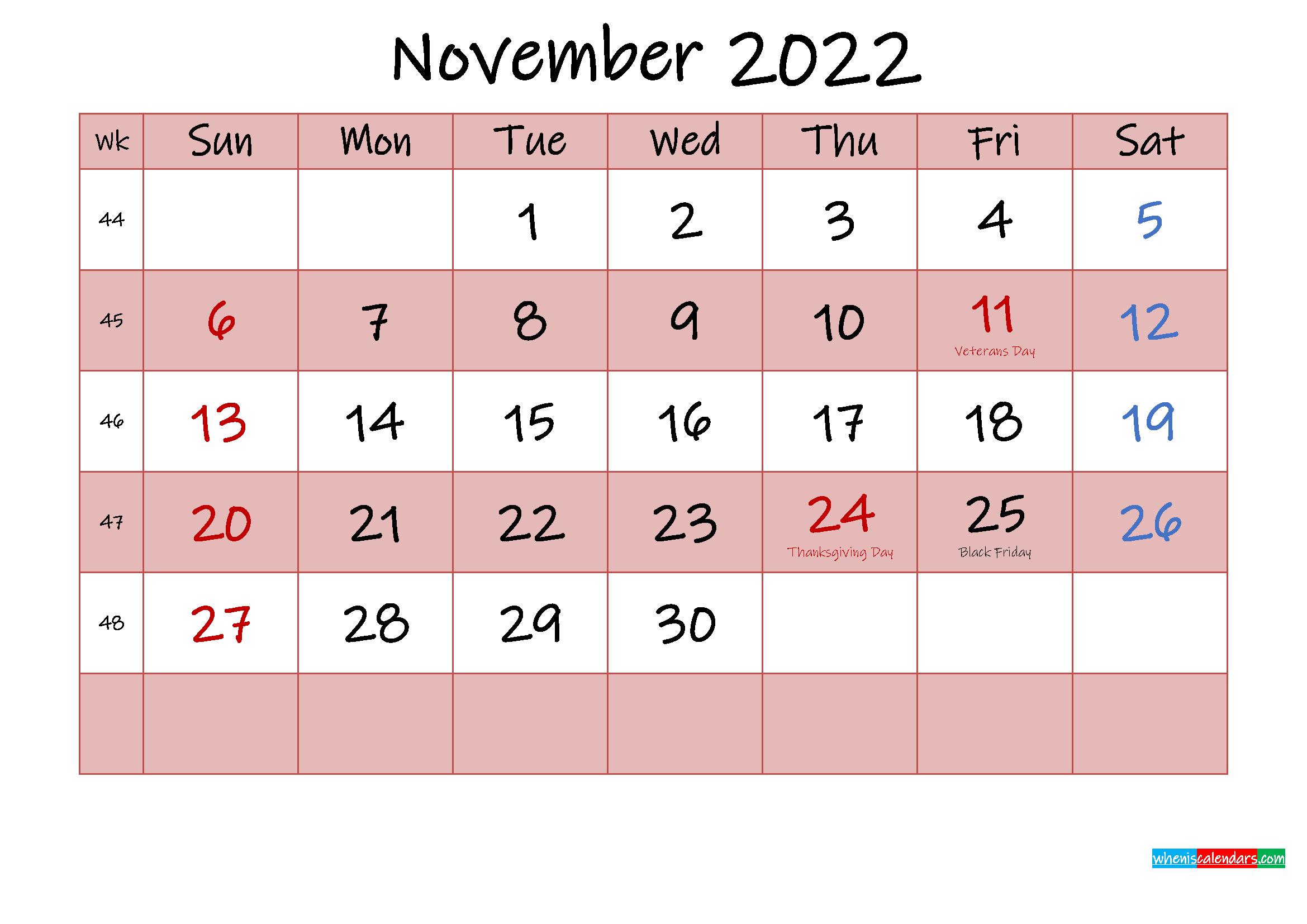 Free Printable Coloring Calendar 2022 November