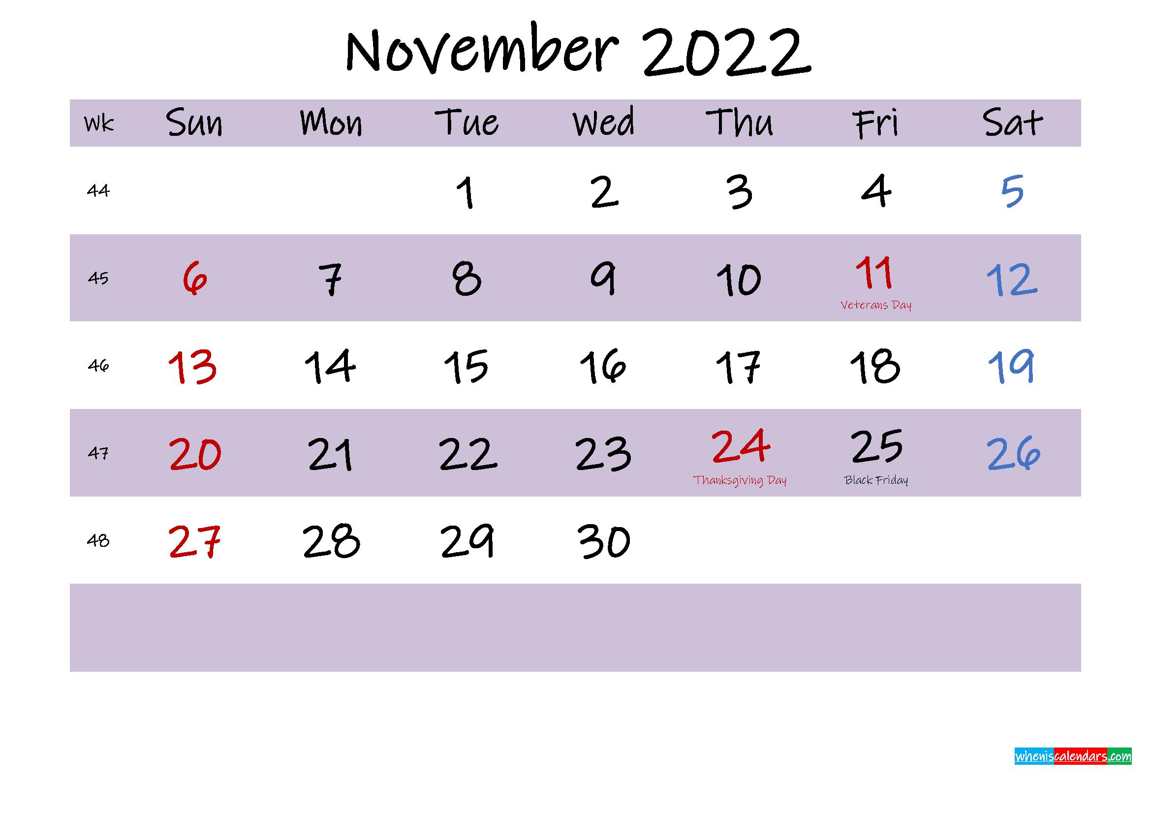 November 2022 Calendar with Holidays Printable
