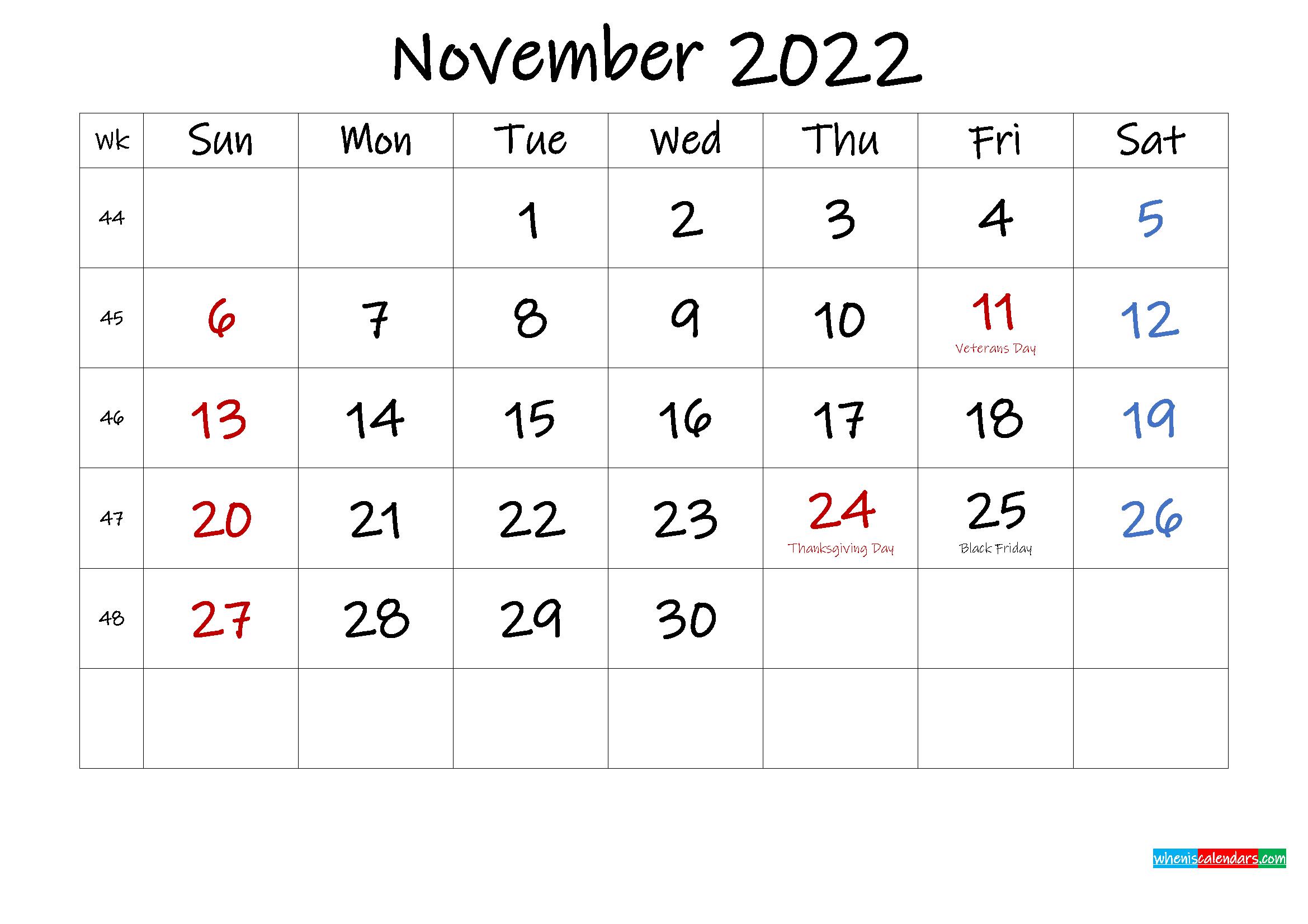 November 2022 Free Printable Calendar with Holidays