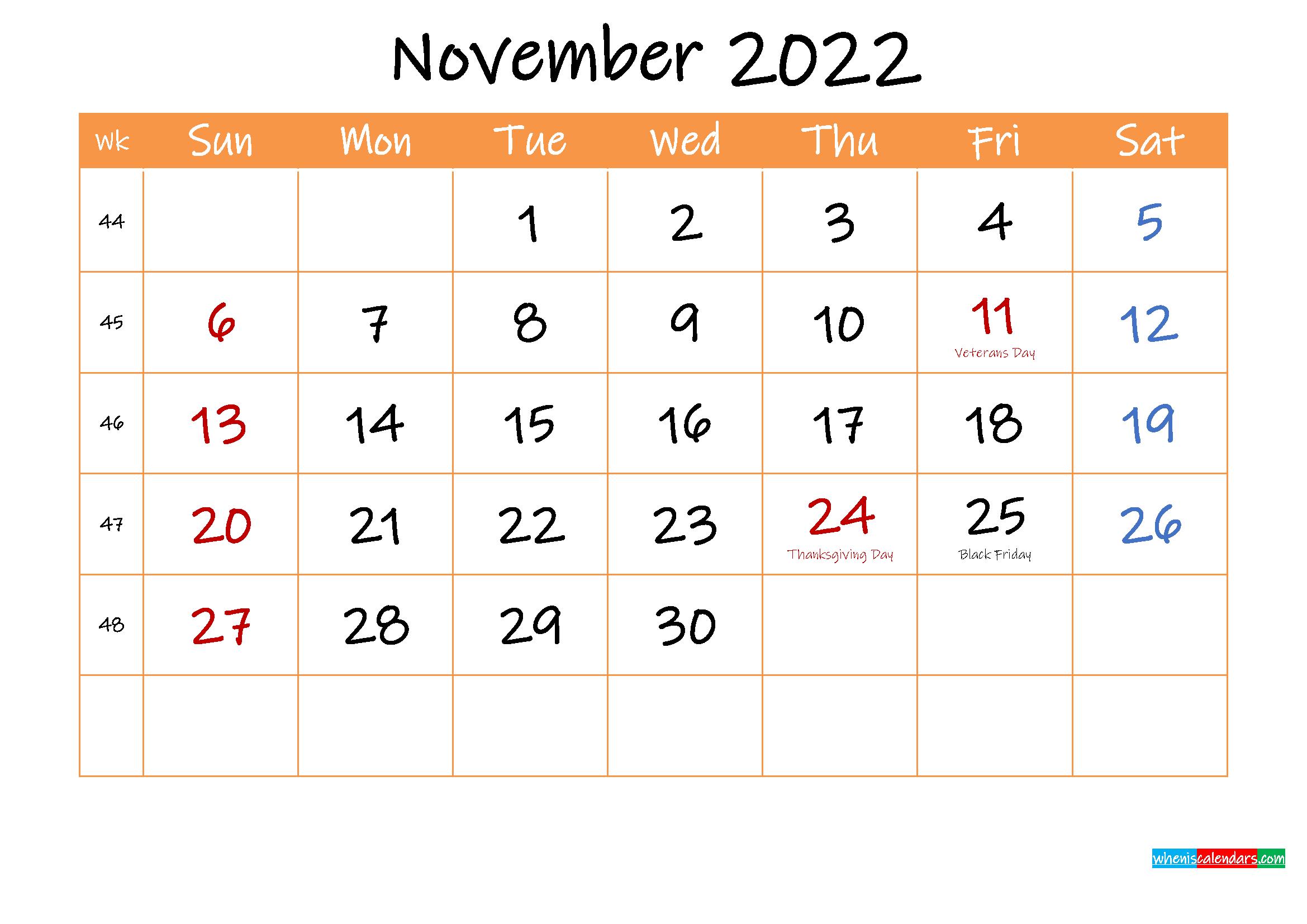 Free Printable Calendar November 2022