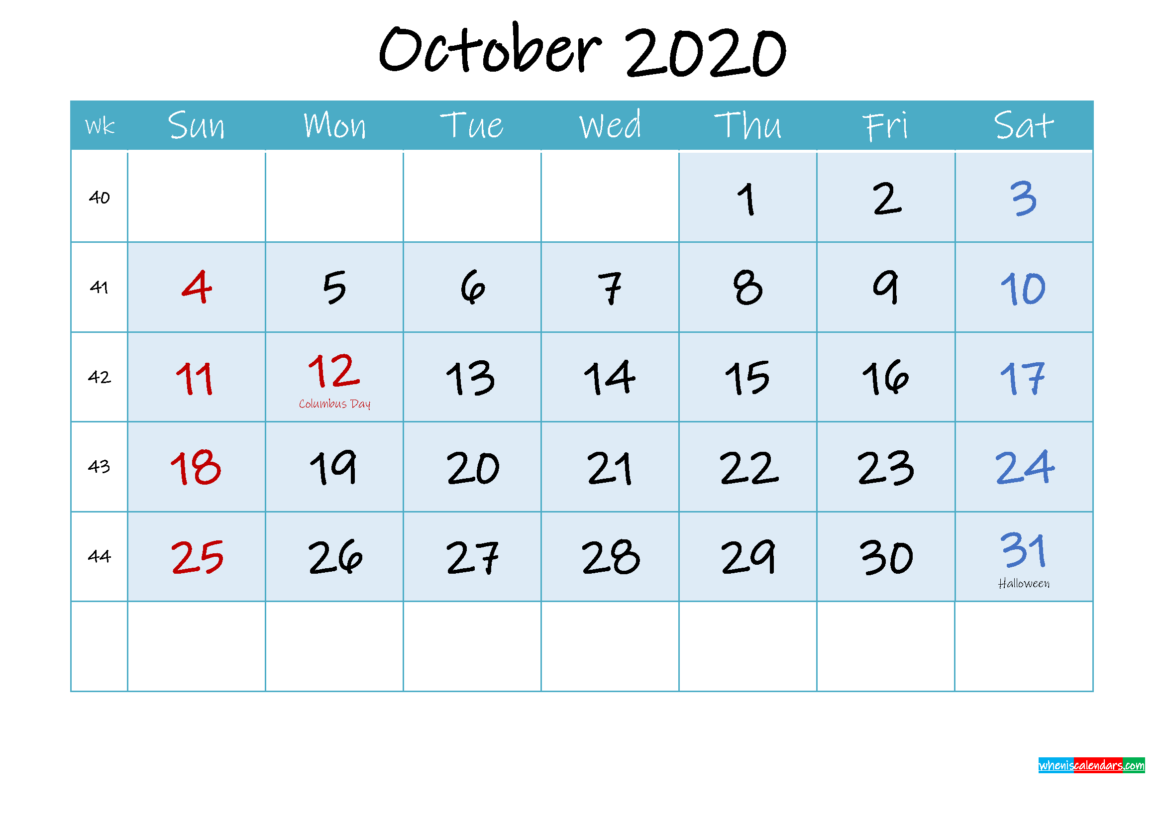 October 2020 Free Printable Calendar with Holidays