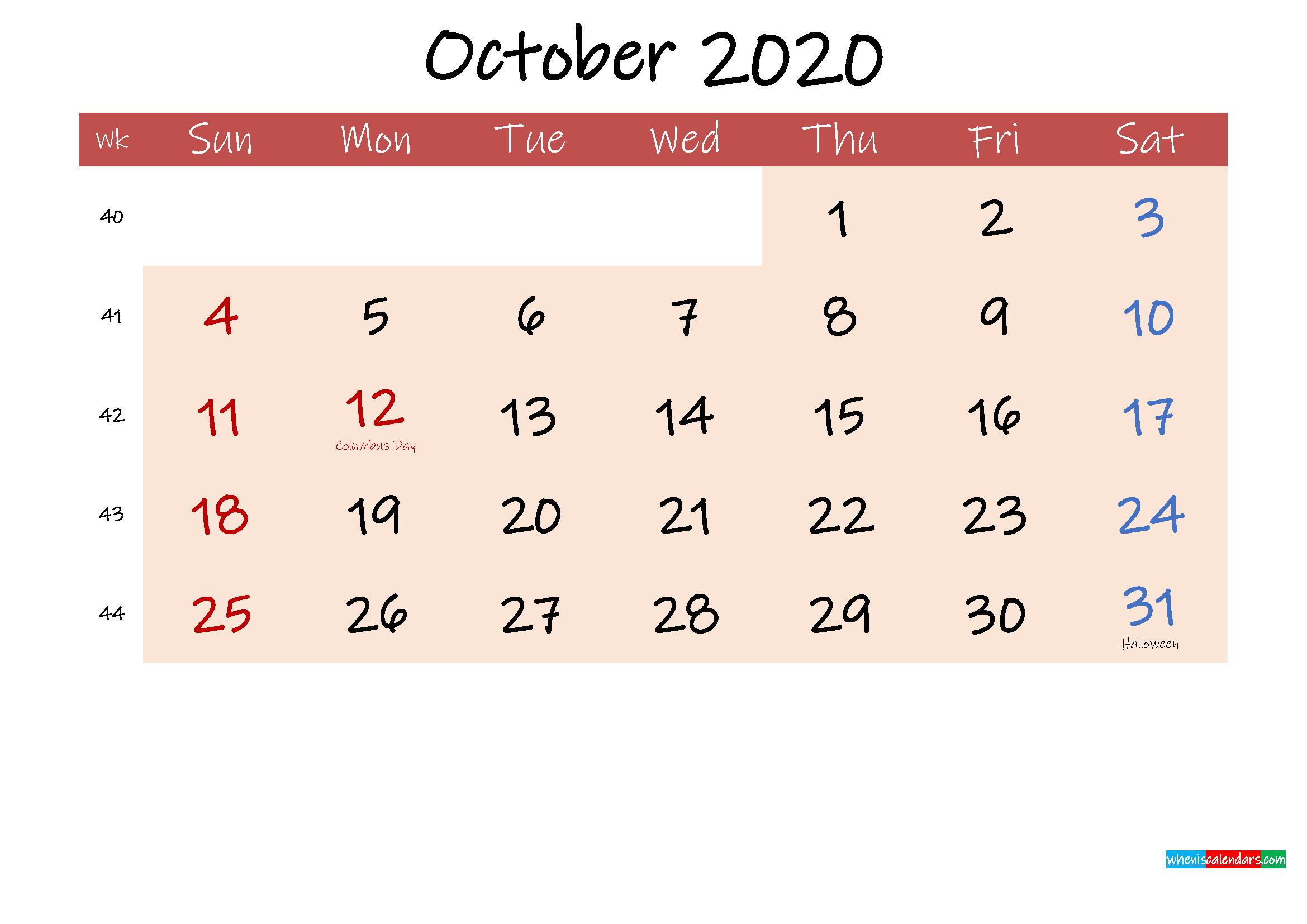 Free Printable Coloring Calendar 2020 October