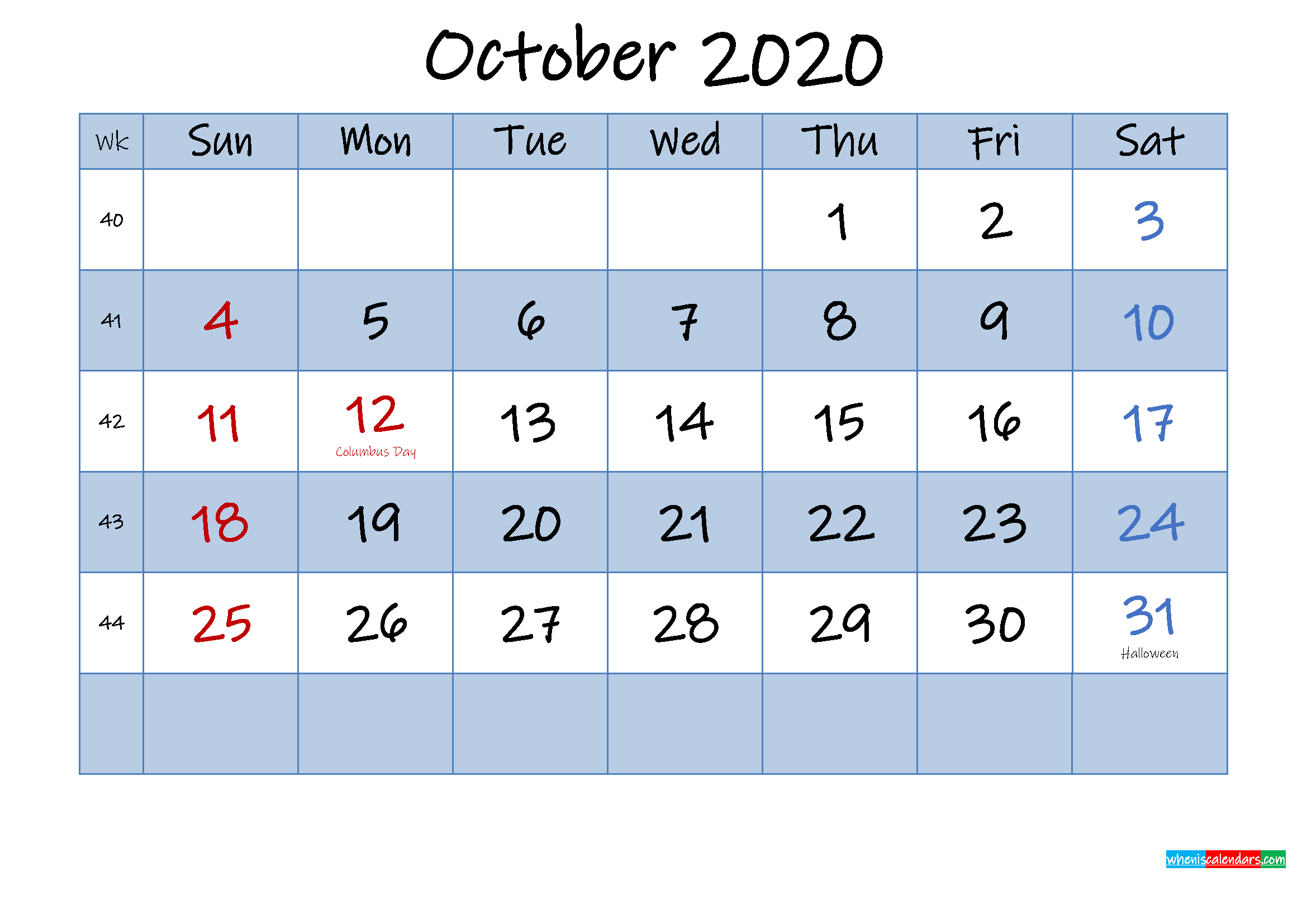 Free October 2020 Monthly Calendar PDF