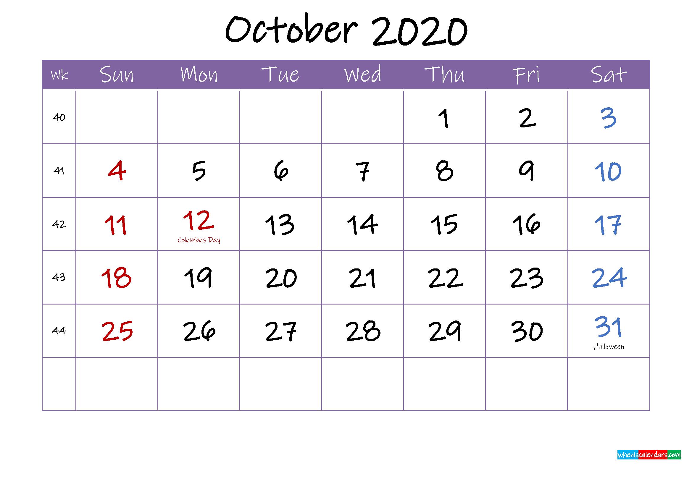 October 2020 Calendar with Holidays Printable