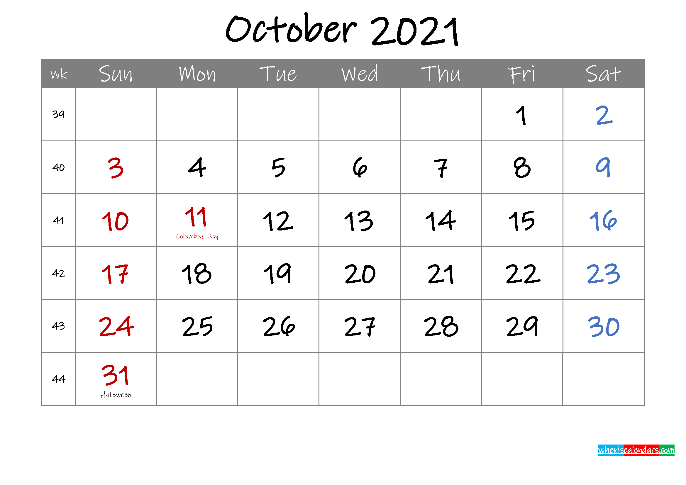 Editable October 2021 Calendar with Holidays
