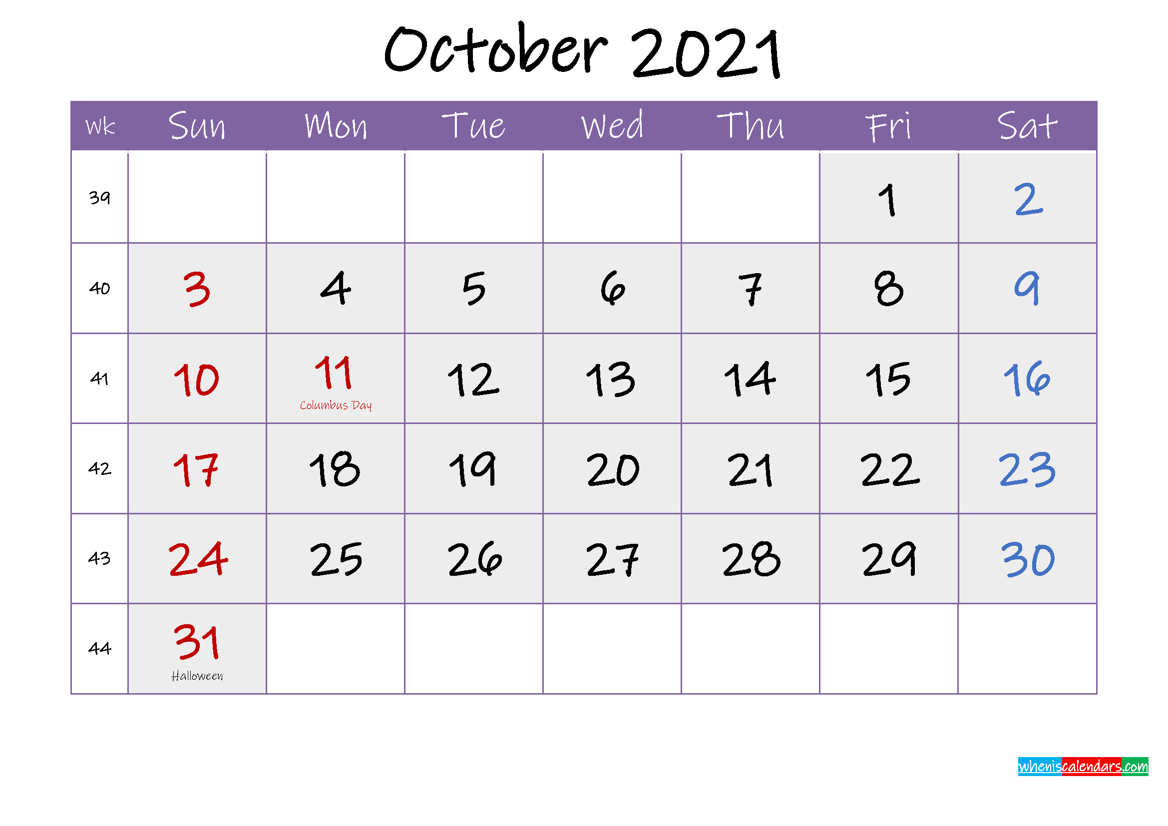 Free October 2021 Printable Calendar with Holidays