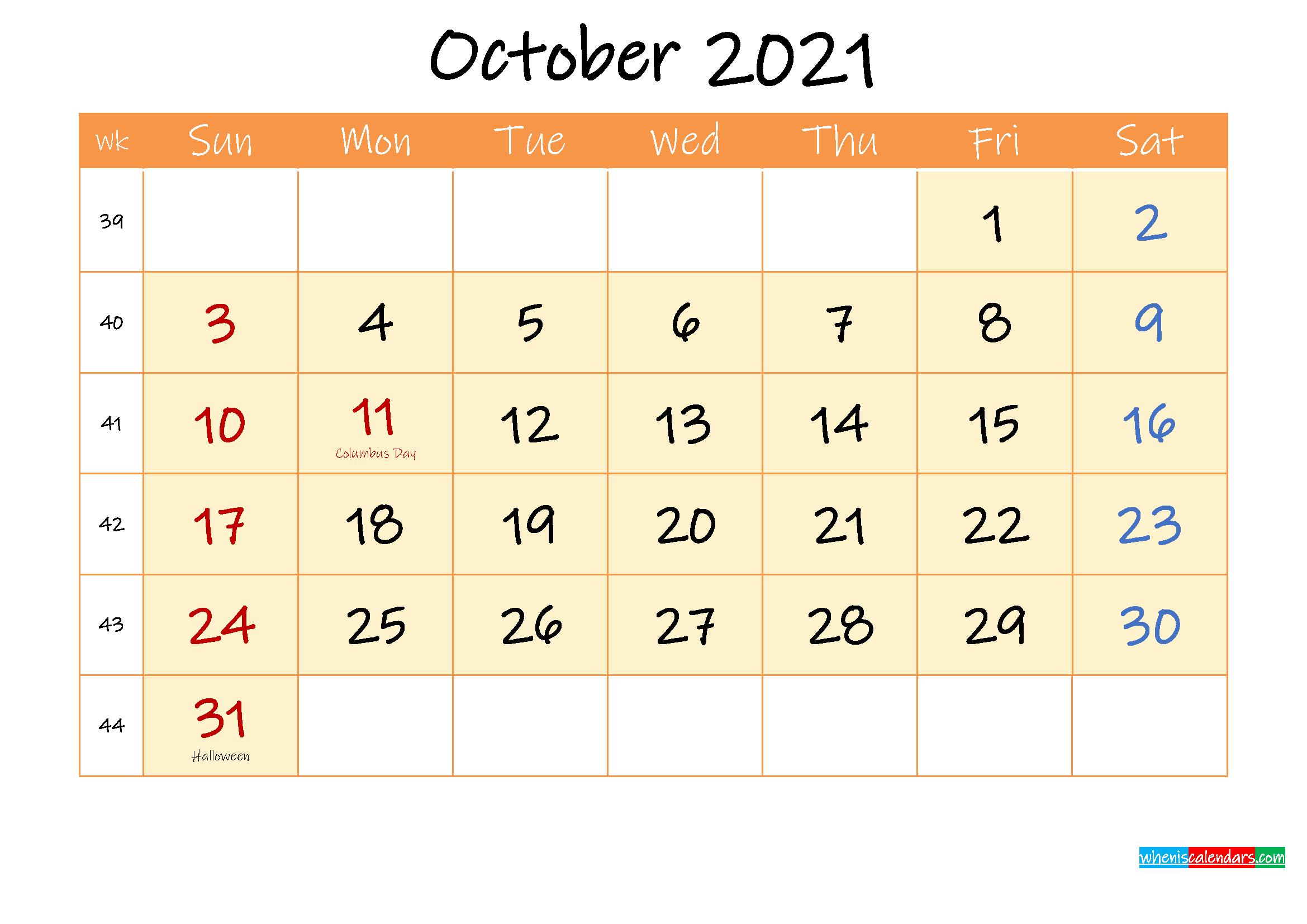 October 2021 Free Printable Calendar
