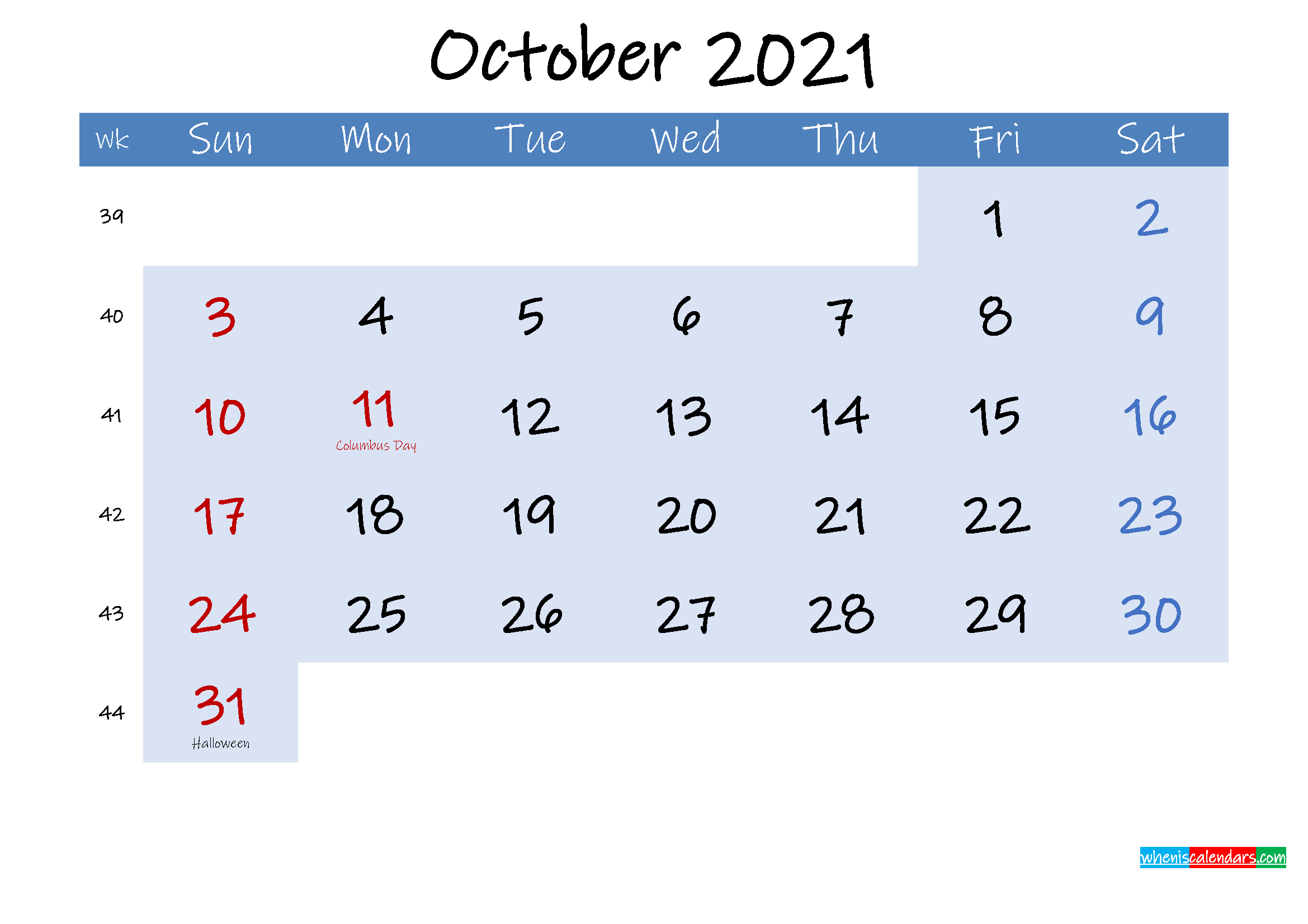 Free October 2021 Monthly Calendar PDF