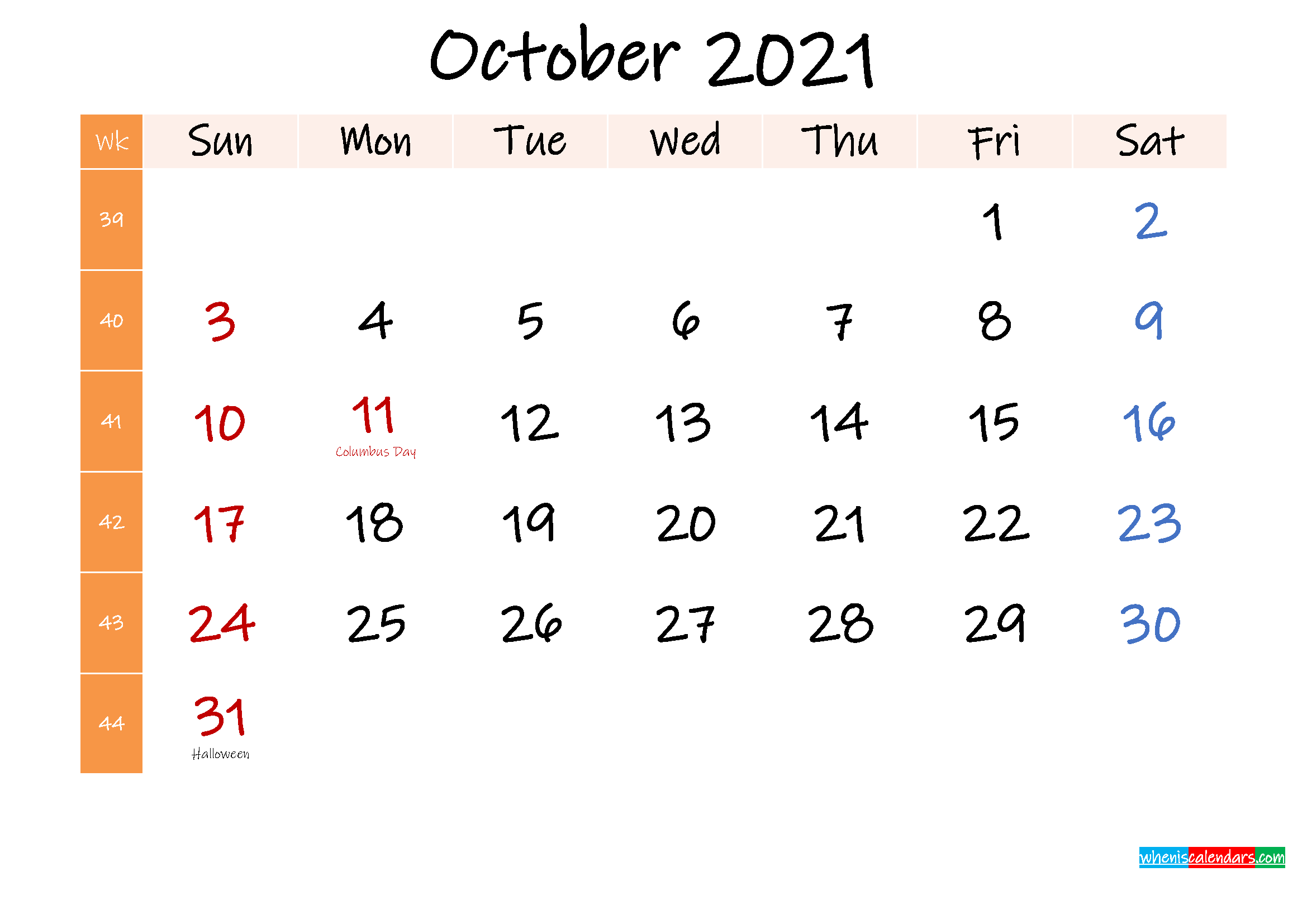 Free October 2021 Monthly Calendar Template Word